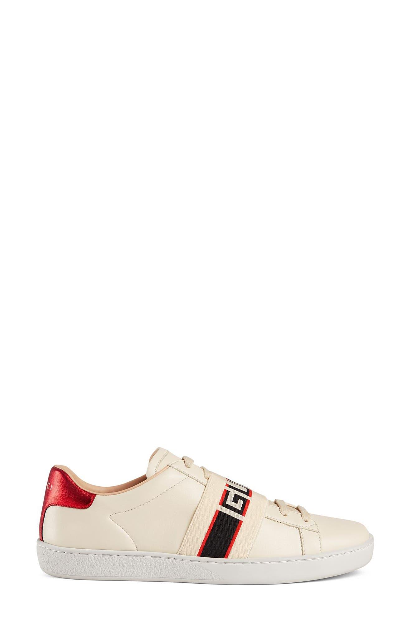 New Ace Logo Strap Sneaker,                             Alternate thumbnail 2, color,                             WHITE
