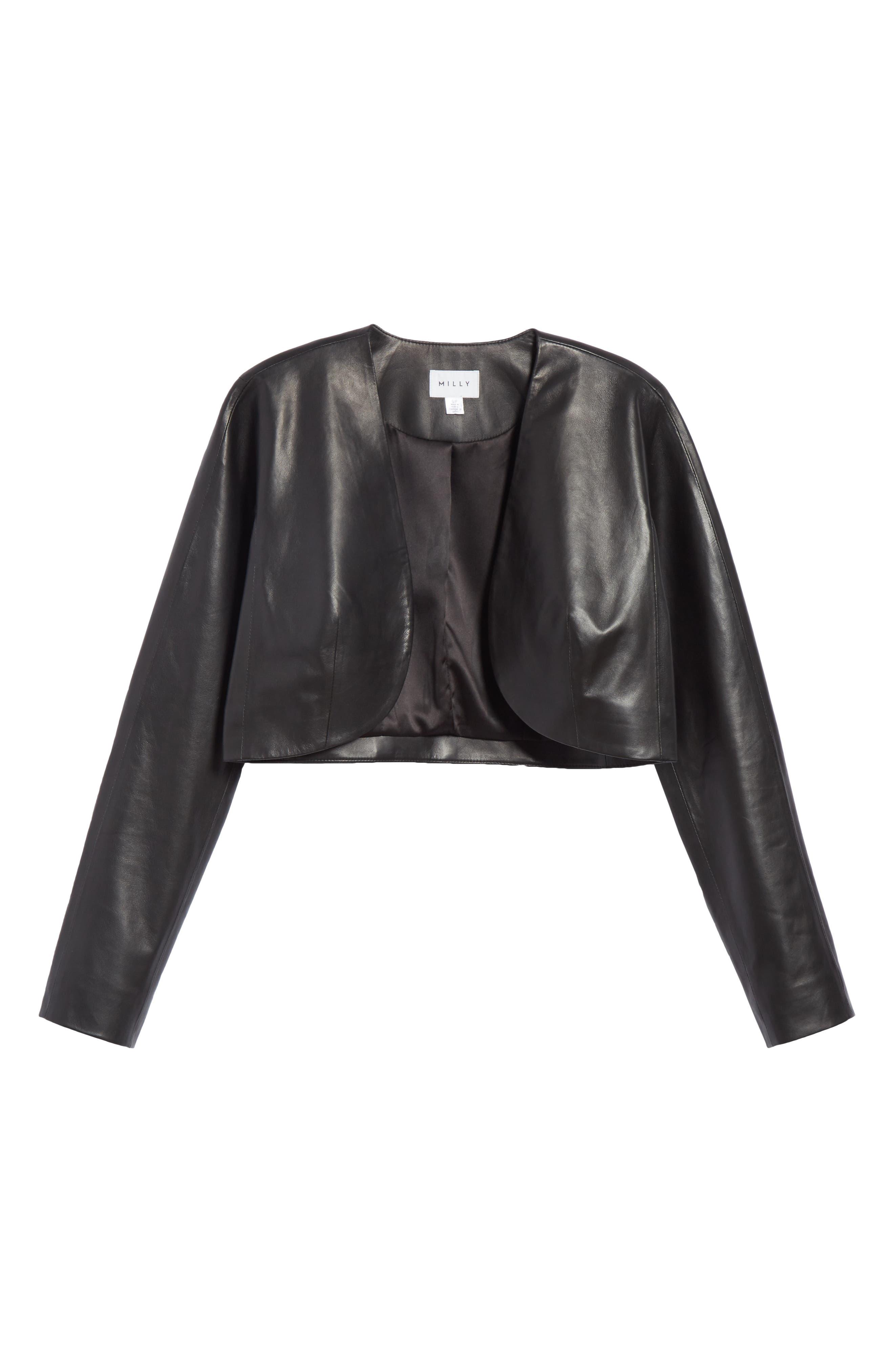 Lightweight Leather Bolero,                             Alternate thumbnail 5, color,                             001