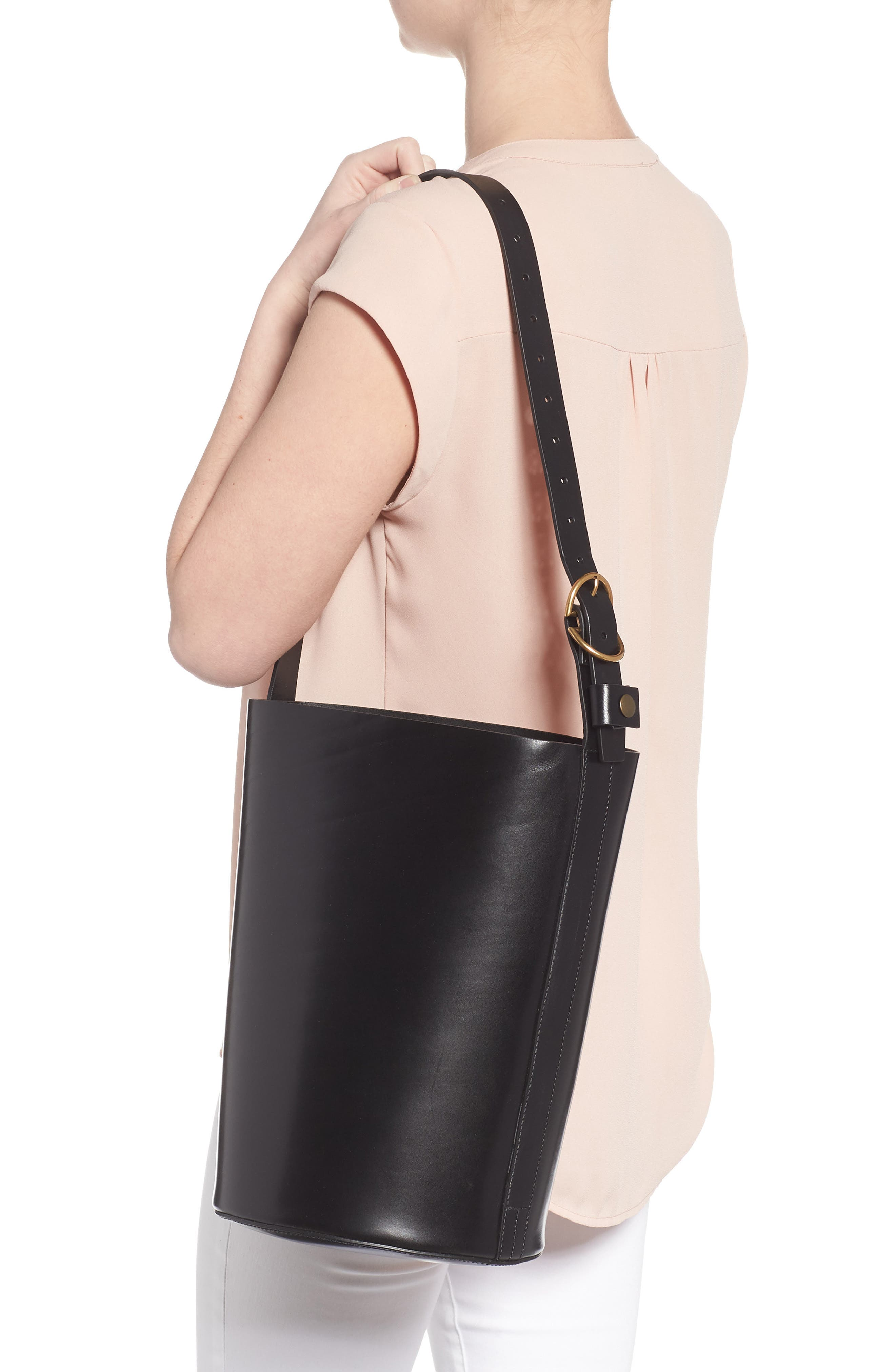 Leather Bucket Bag,                             Alternate thumbnail 2, color,                             BLACK