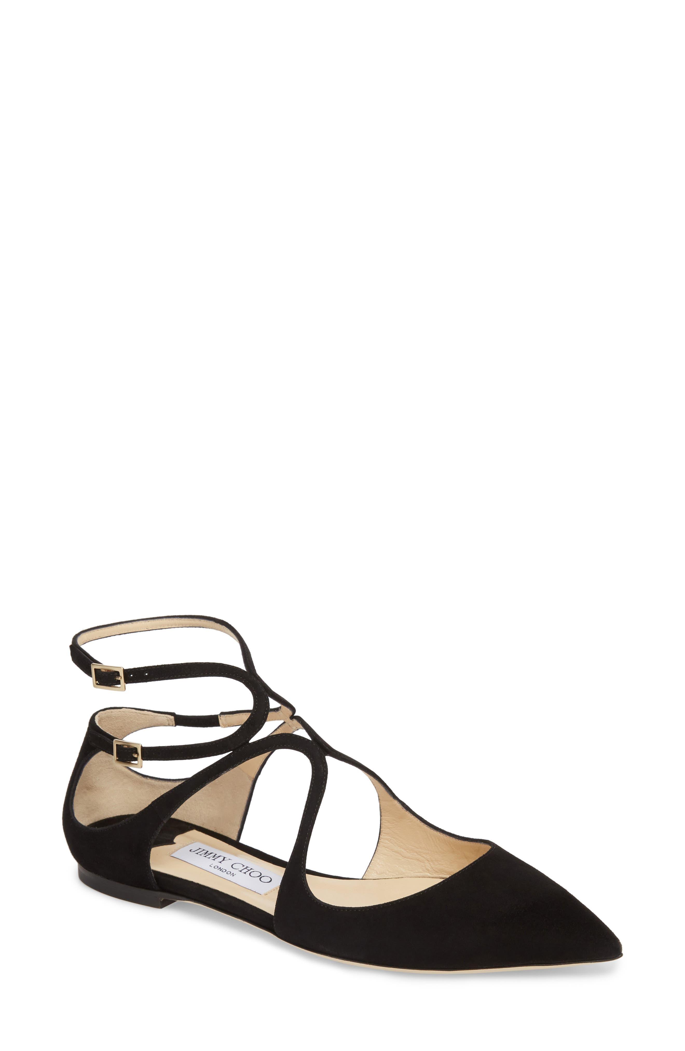 Lancer Ankle Strap Flat,                         Main,                         color, BLACK