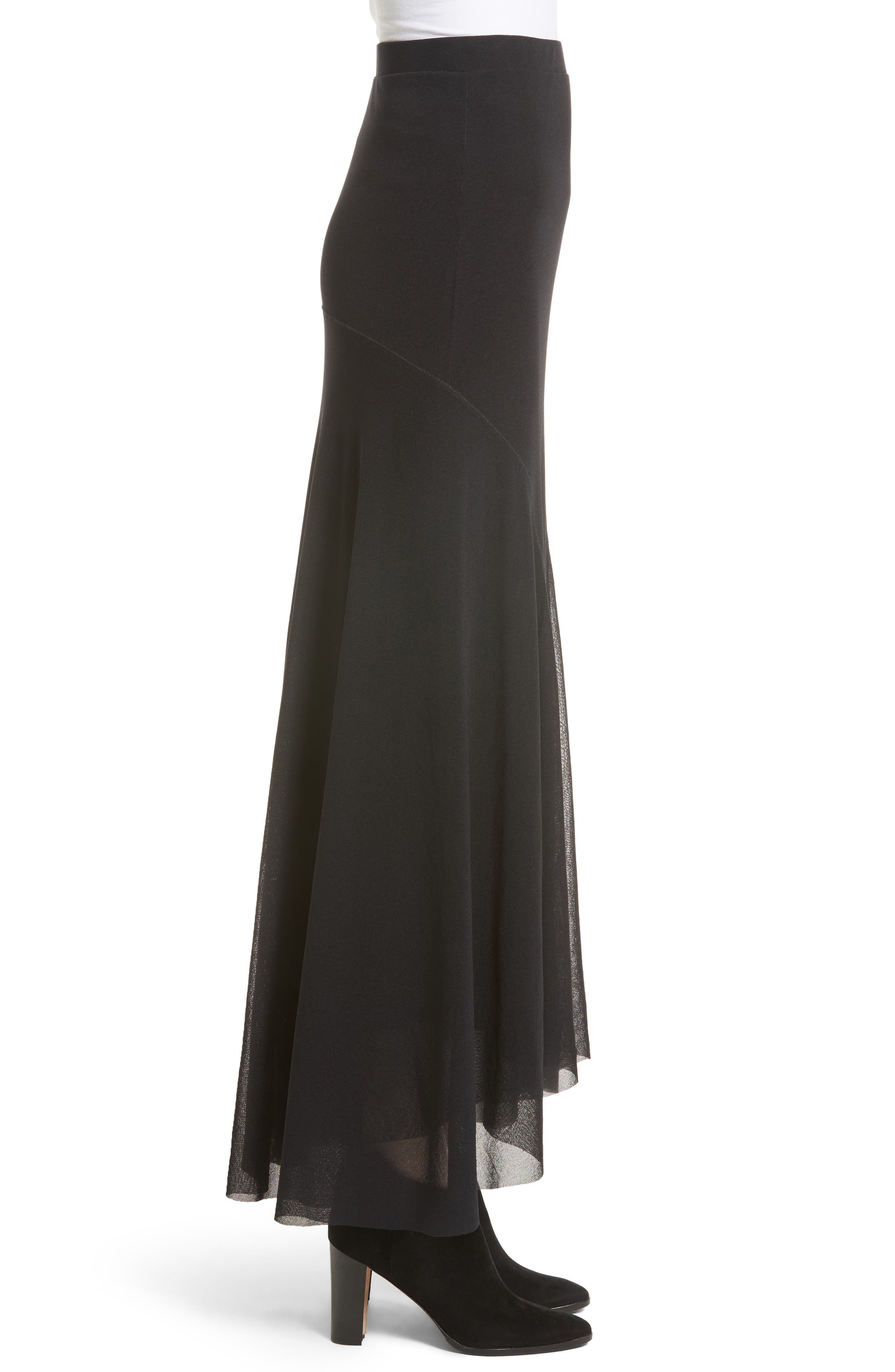 Tulle High/Low Maxi Skirt,                             Alternate thumbnail 3, color,                             001