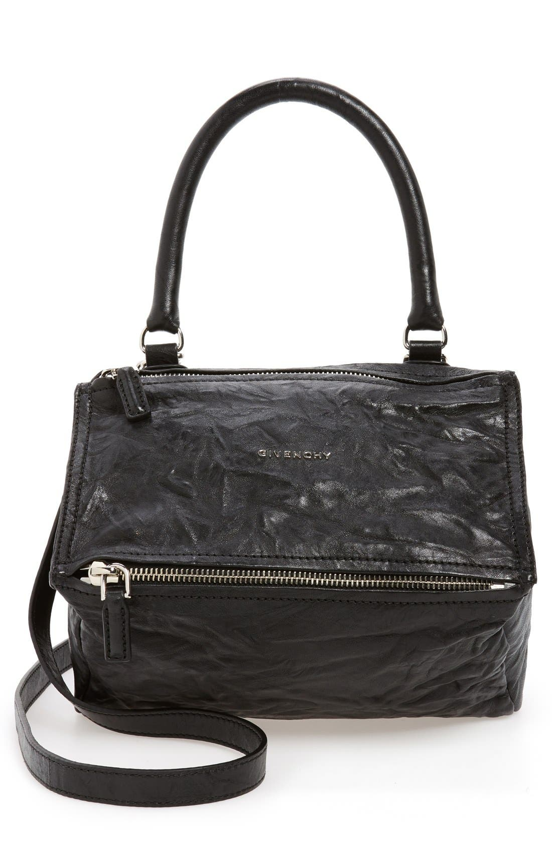'Small Pepe Pandora' Leather Shoulder Bag,                             Main thumbnail 1, color,                             BLACK