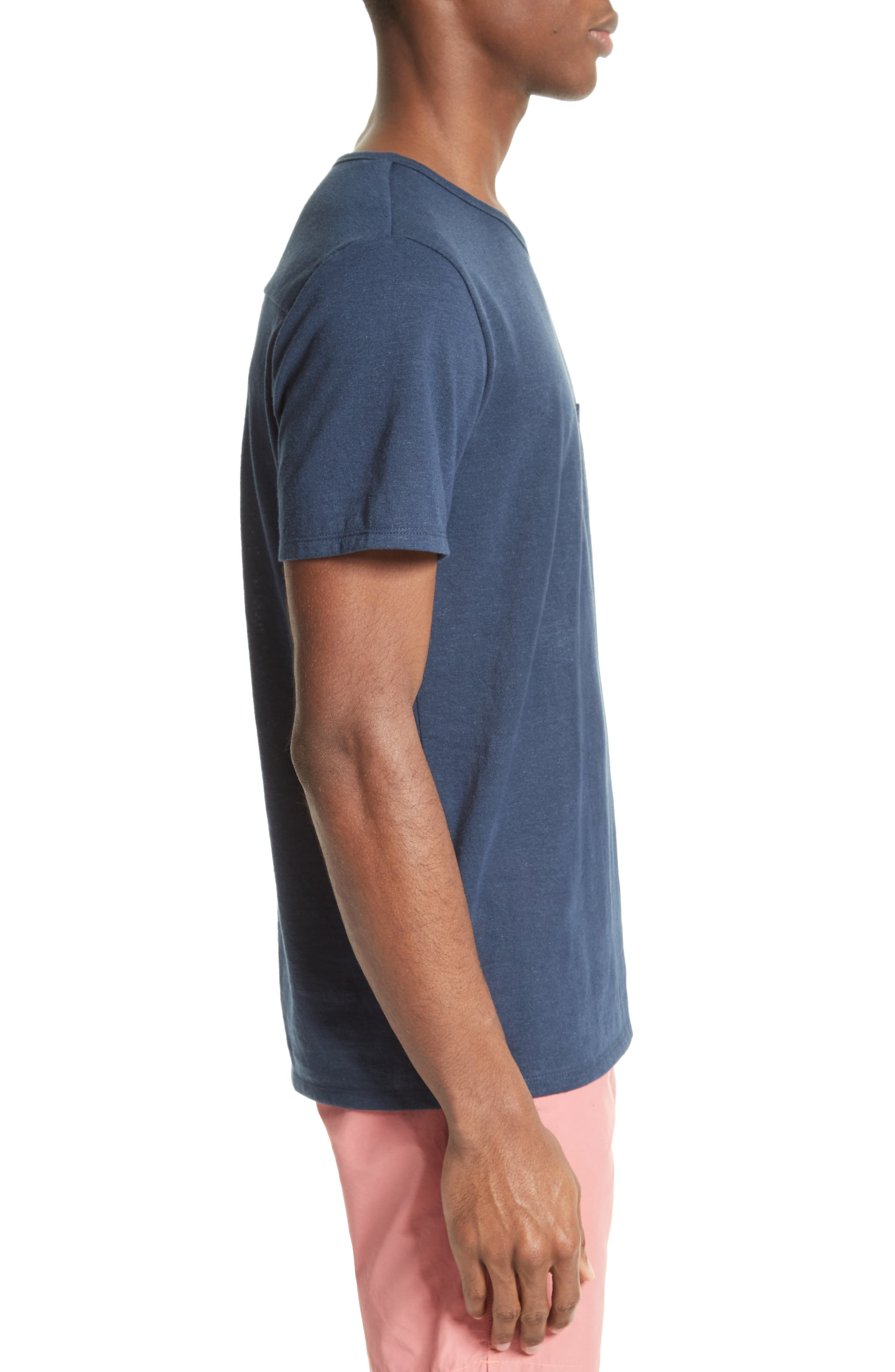 Chad Linen Blend Pocket T-Shirt,                             Alternate thumbnail 3, color,                             DEEP NAVY