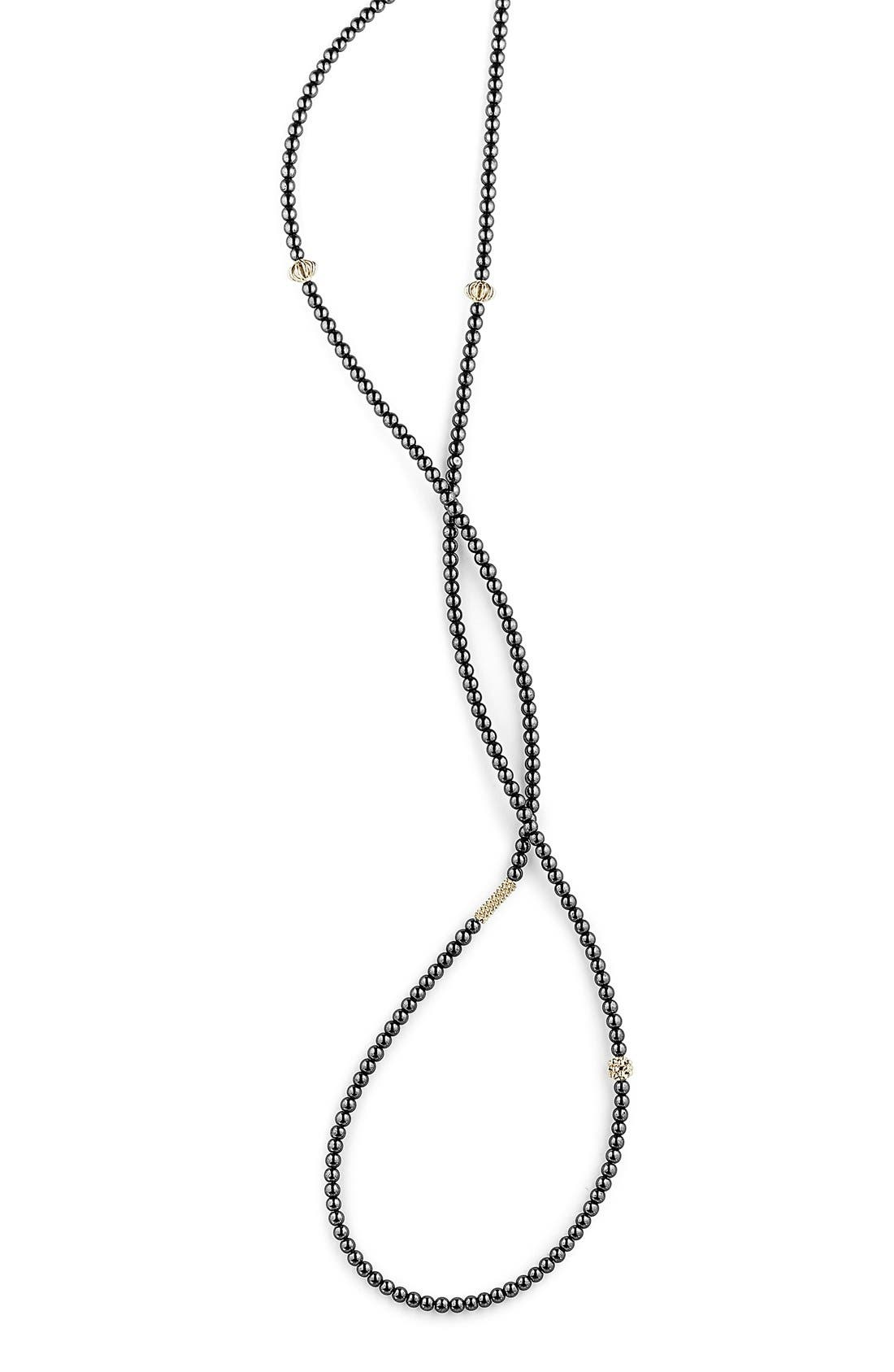 'Caviar Icon' Strand Necklace,                             Alternate thumbnail 4, color,                             HEMATITE/ GOLD