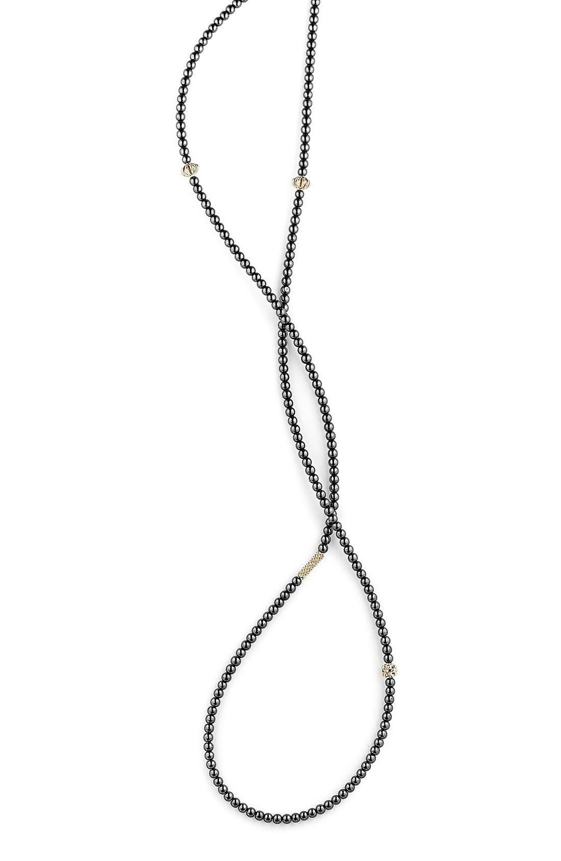LAGOS,                             'Caviar Icon' Strand Necklace,                             Alternate thumbnail 4, color,                             HEMATITE/ GOLD