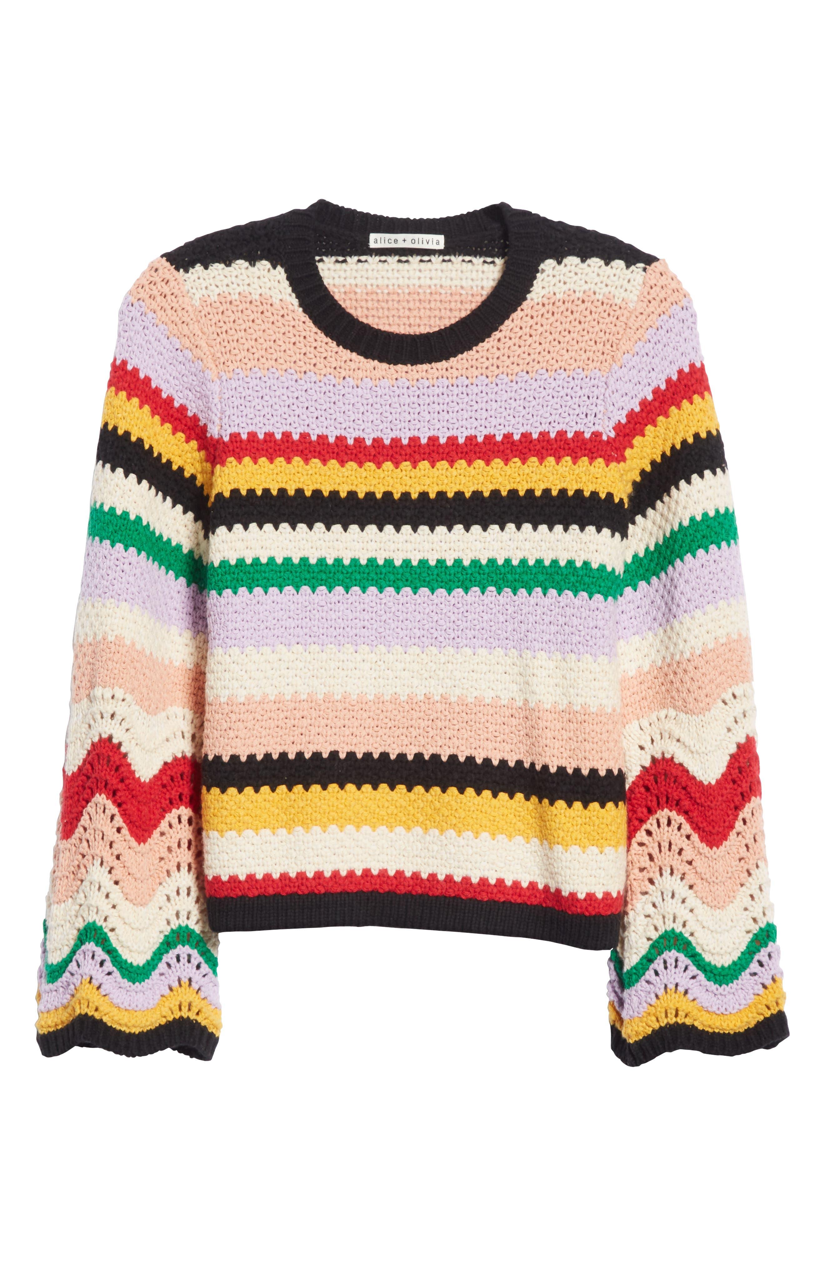 Alivia Stripe Bell Sleeve Cotton Blend Sweater,                             Alternate thumbnail 6, color,                             MULTI