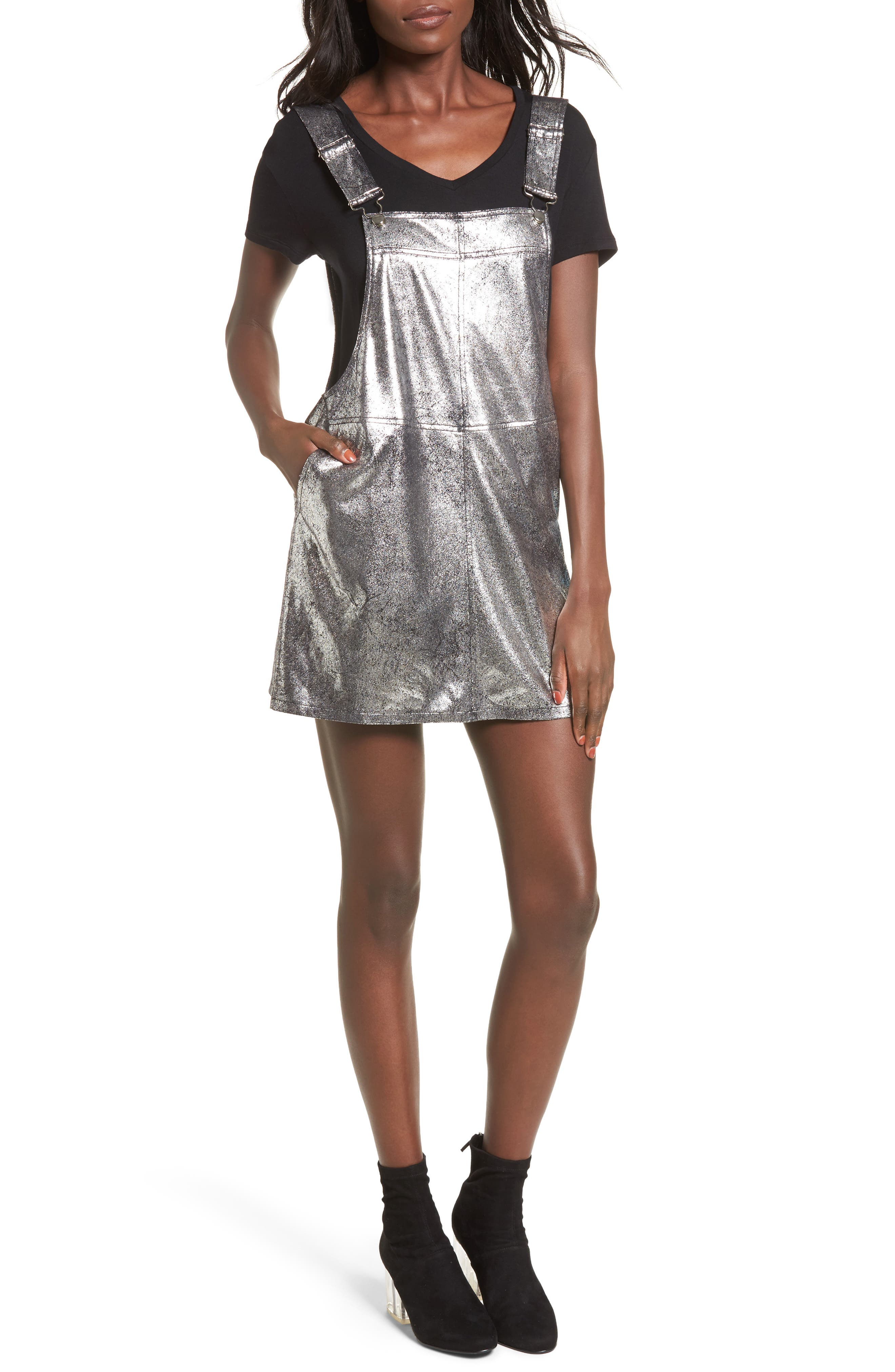 Metallic Overall Minidress,                         Main,                         color,