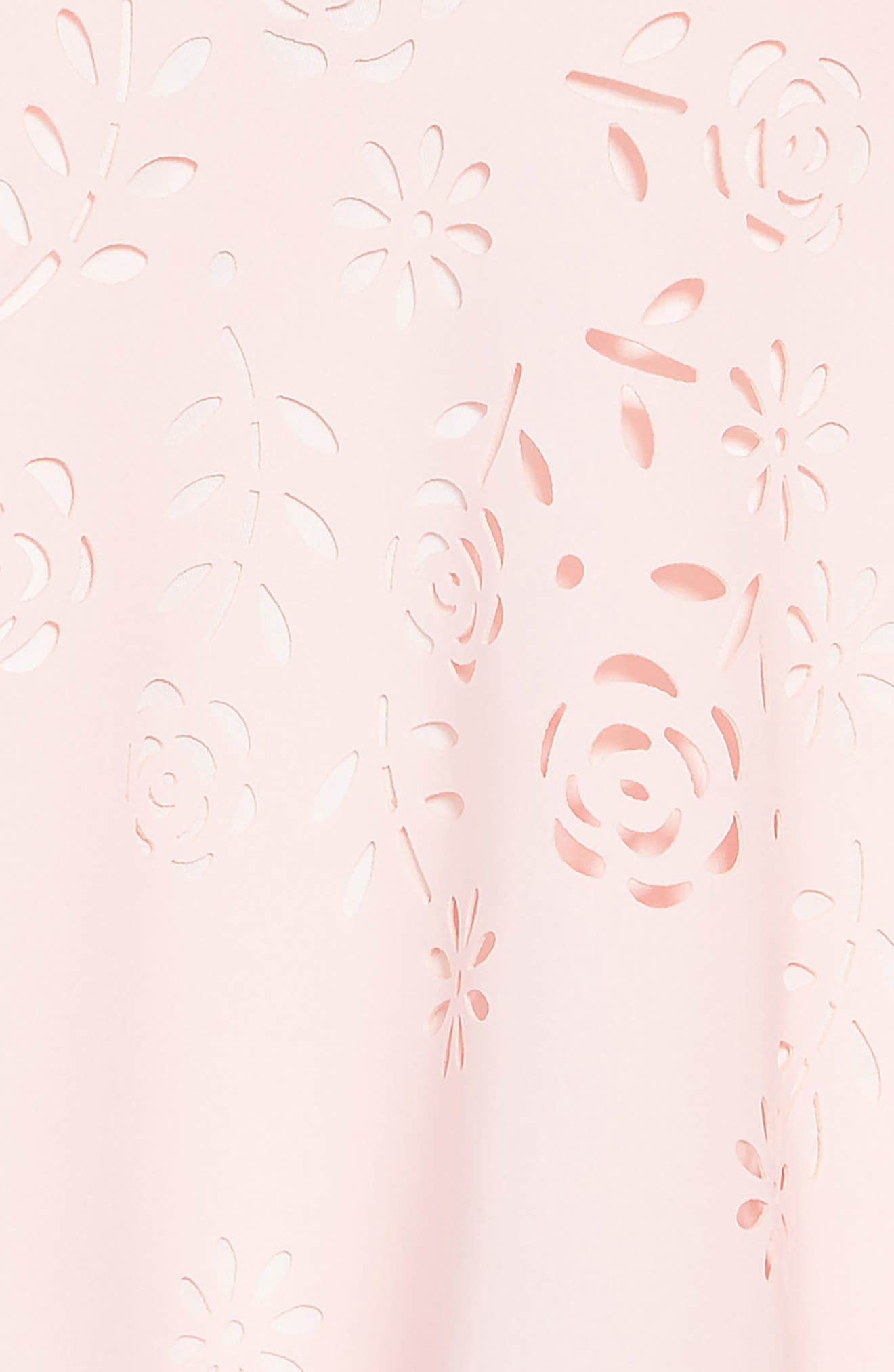 TRULY ME,                             Laser Cut Floral Fit & Flare Dress,                             Alternate thumbnail 3, color,                             PINK-WHITE