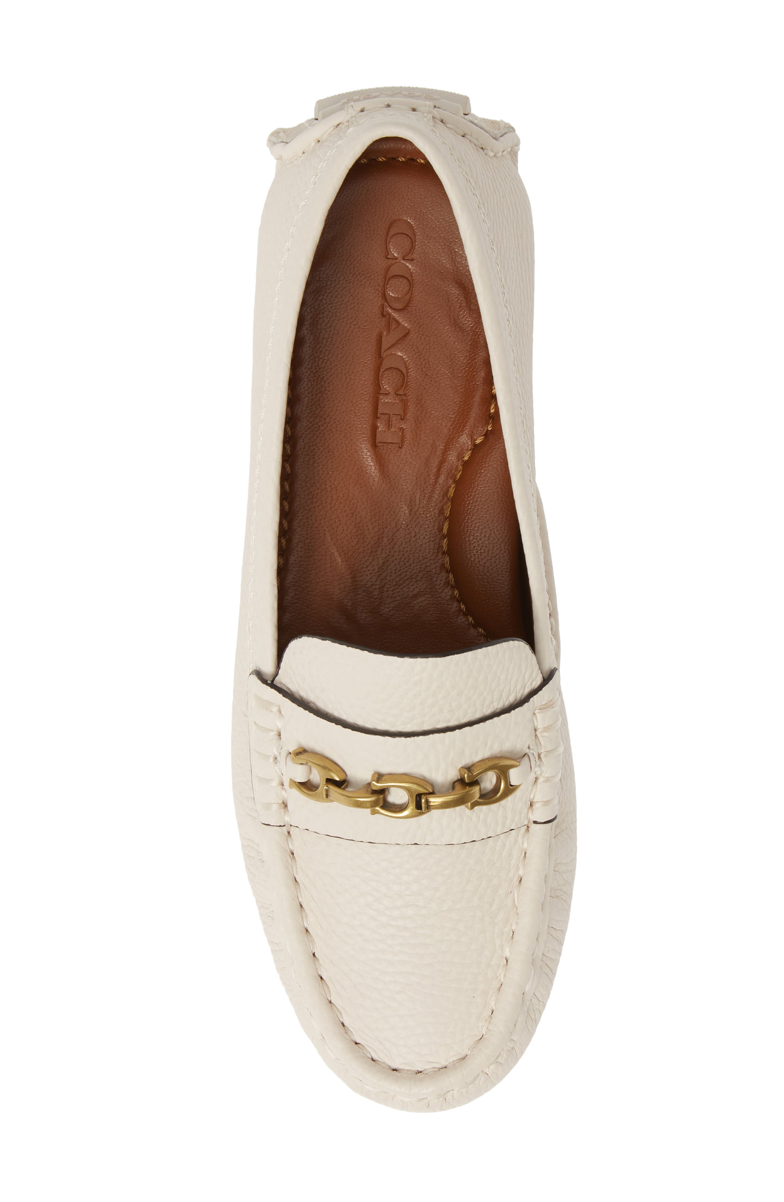 COACH,                             Crosby Driver Loafer,                             Alternate thumbnail 5, color,                             CHALK LEATHER