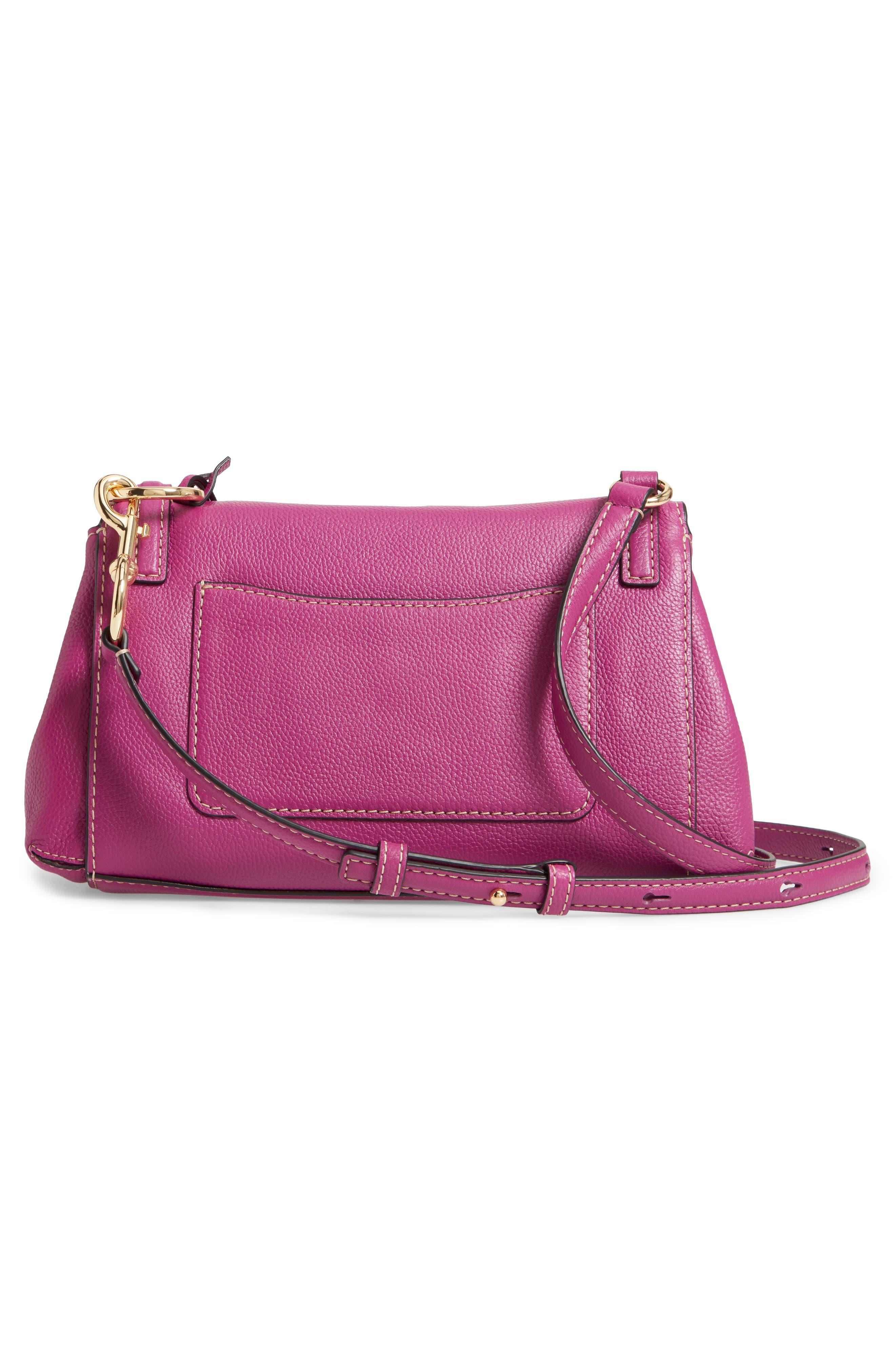 The Grind Boho Leather Shoulder Bag,                             Alternate thumbnail 3, color,                             RHUBARB