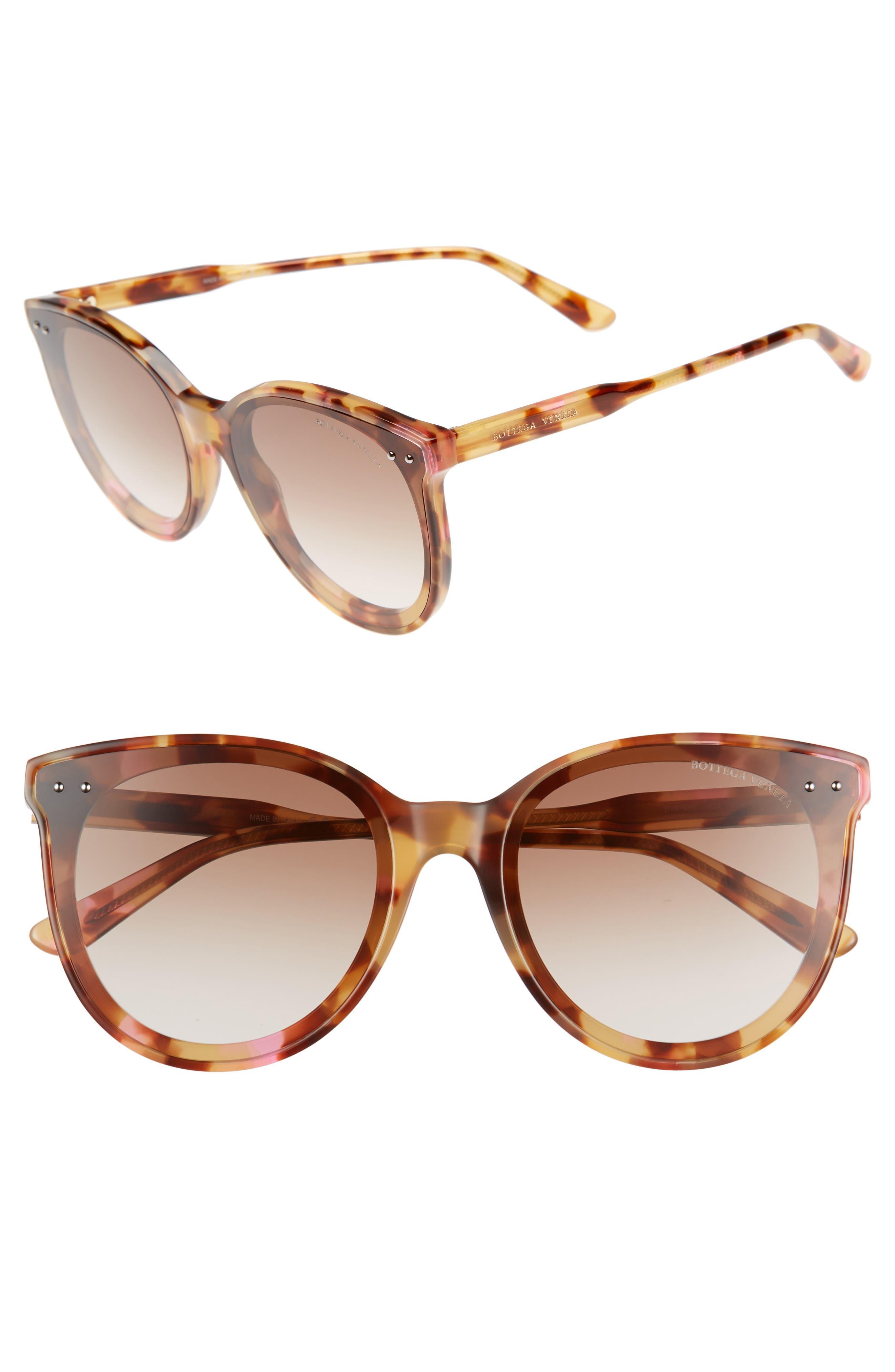 61mm Cat Eye Sunglasses,                             Main thumbnail 1, color,                             PINK HAVANA