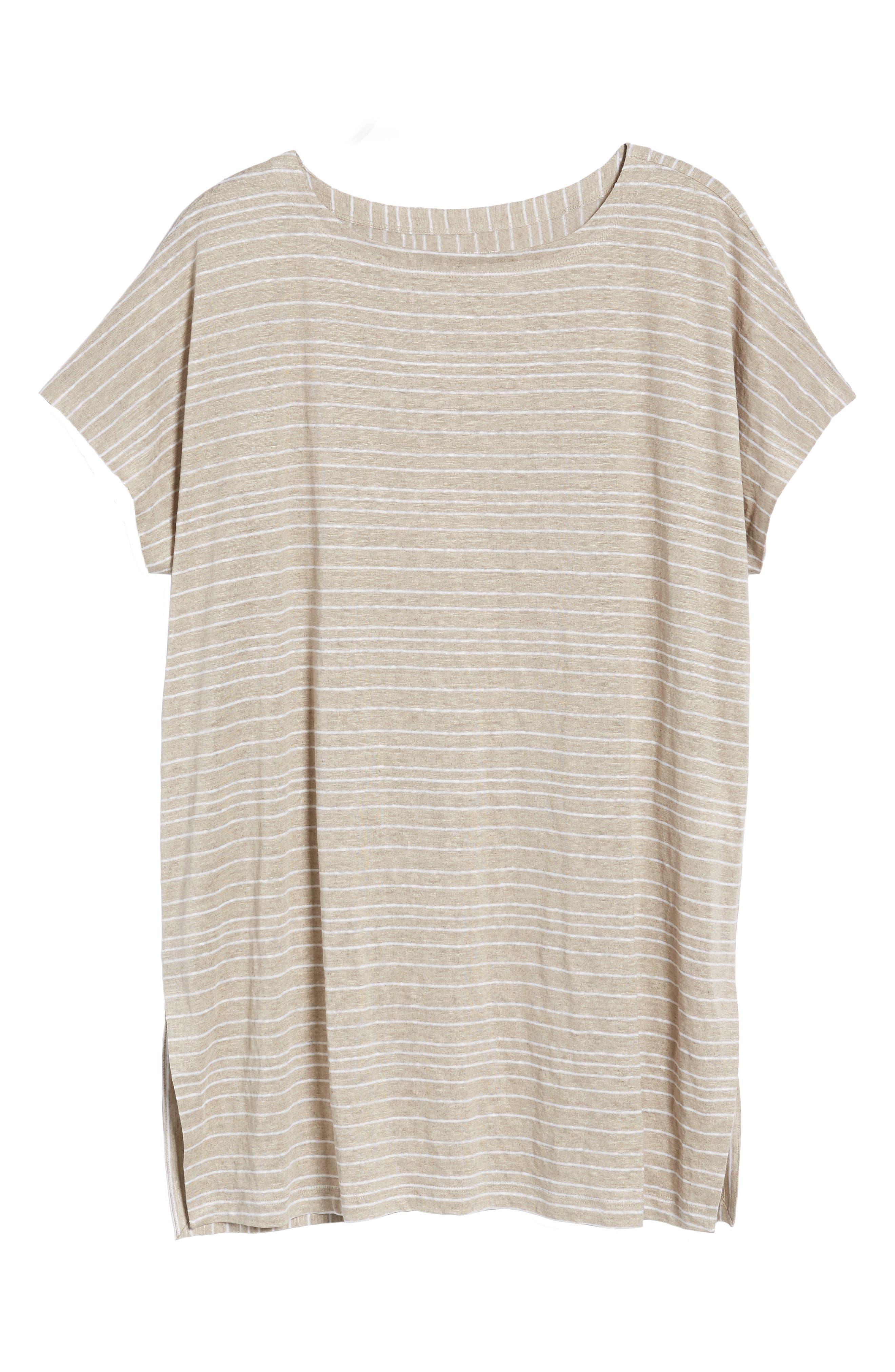 Stripe Organic Linen Tunic,                             Alternate thumbnail 13, color,