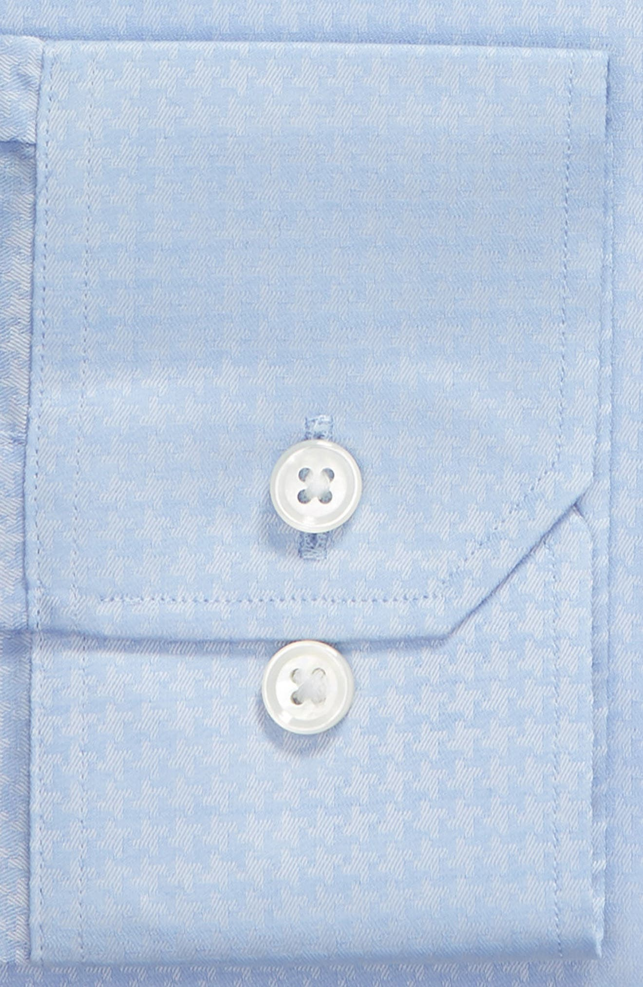 Swiss Performance Clifton Slim Fit Houndstooth Dress Shirt,                             Alternate thumbnail 6, color,                             CANNES BLUE