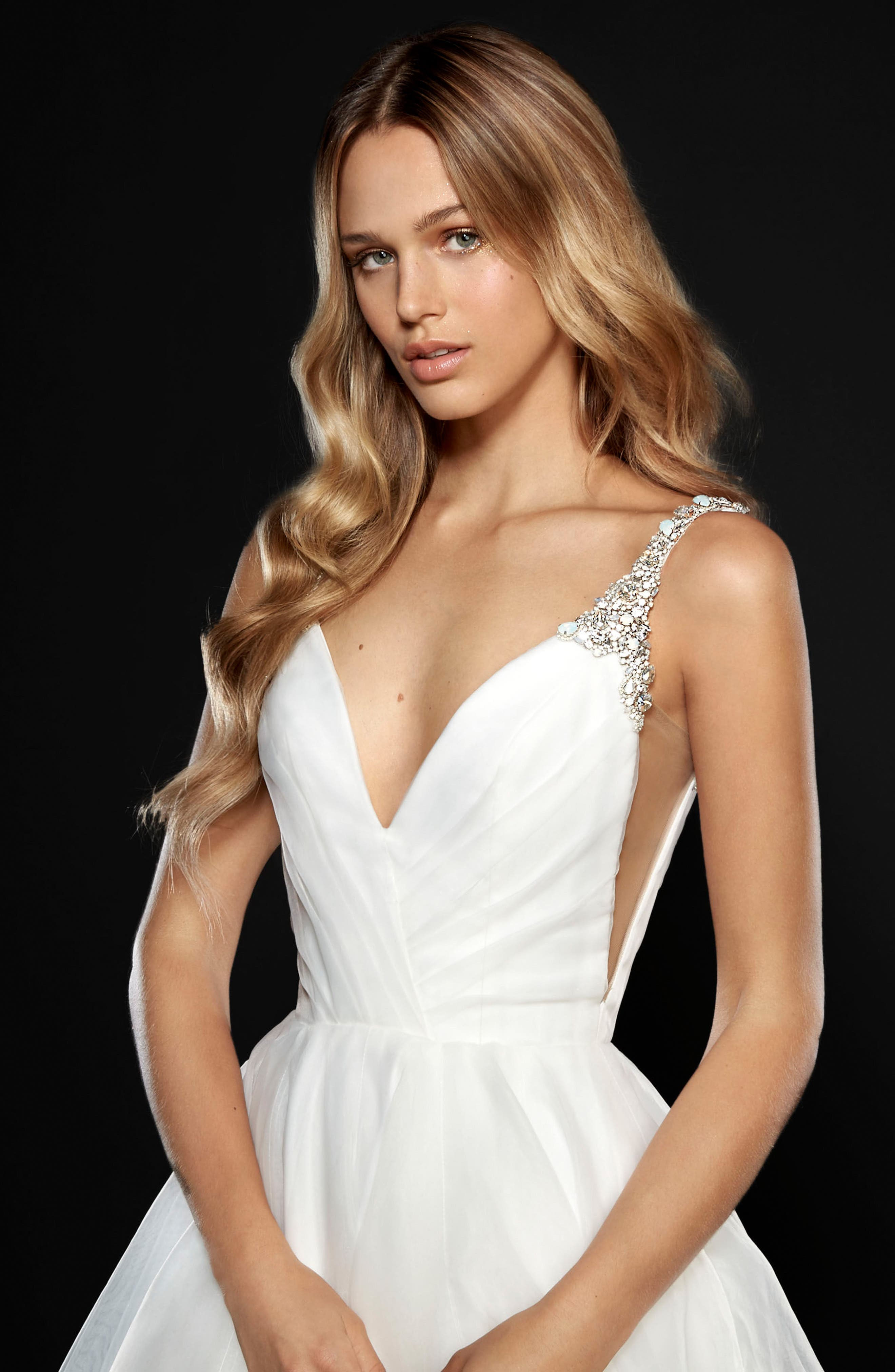 Dare Embellished Draped Organza Ballgown,                             Alternate thumbnail 3, color,                             IVORY