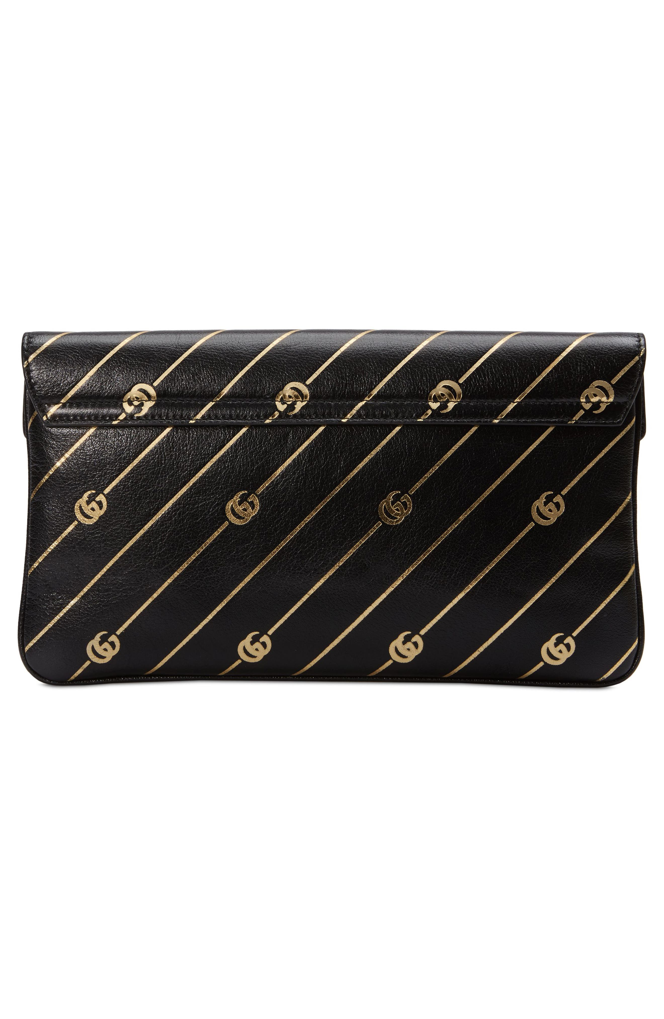 Broadway GG Archive-P Leather Envelope Clutch,                             Alternate thumbnail 2, color,                             NERO ORO MULTI