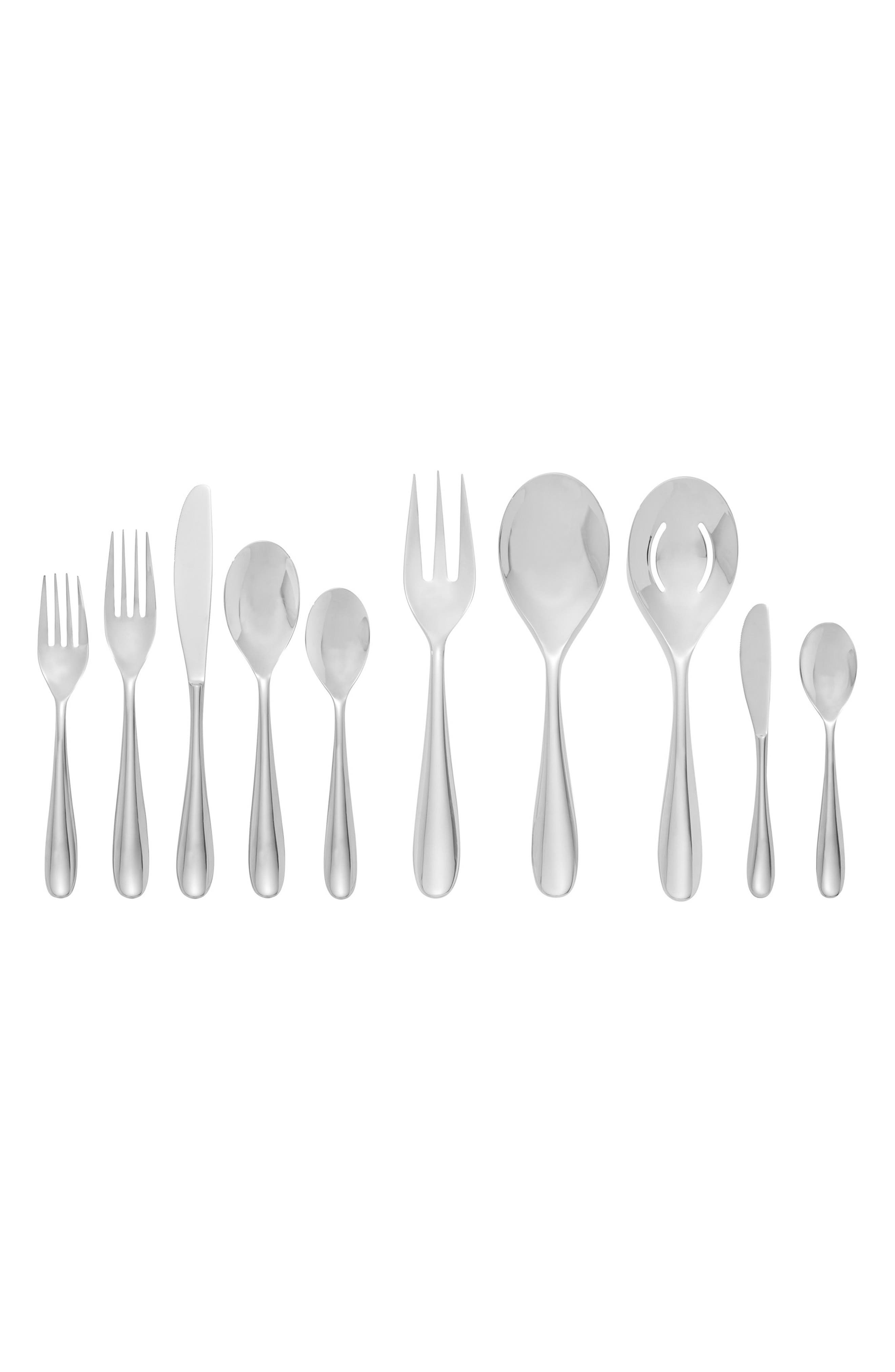 NAMBÉ Paige 45-Piece Flatware Set, Main, color, SILVER
