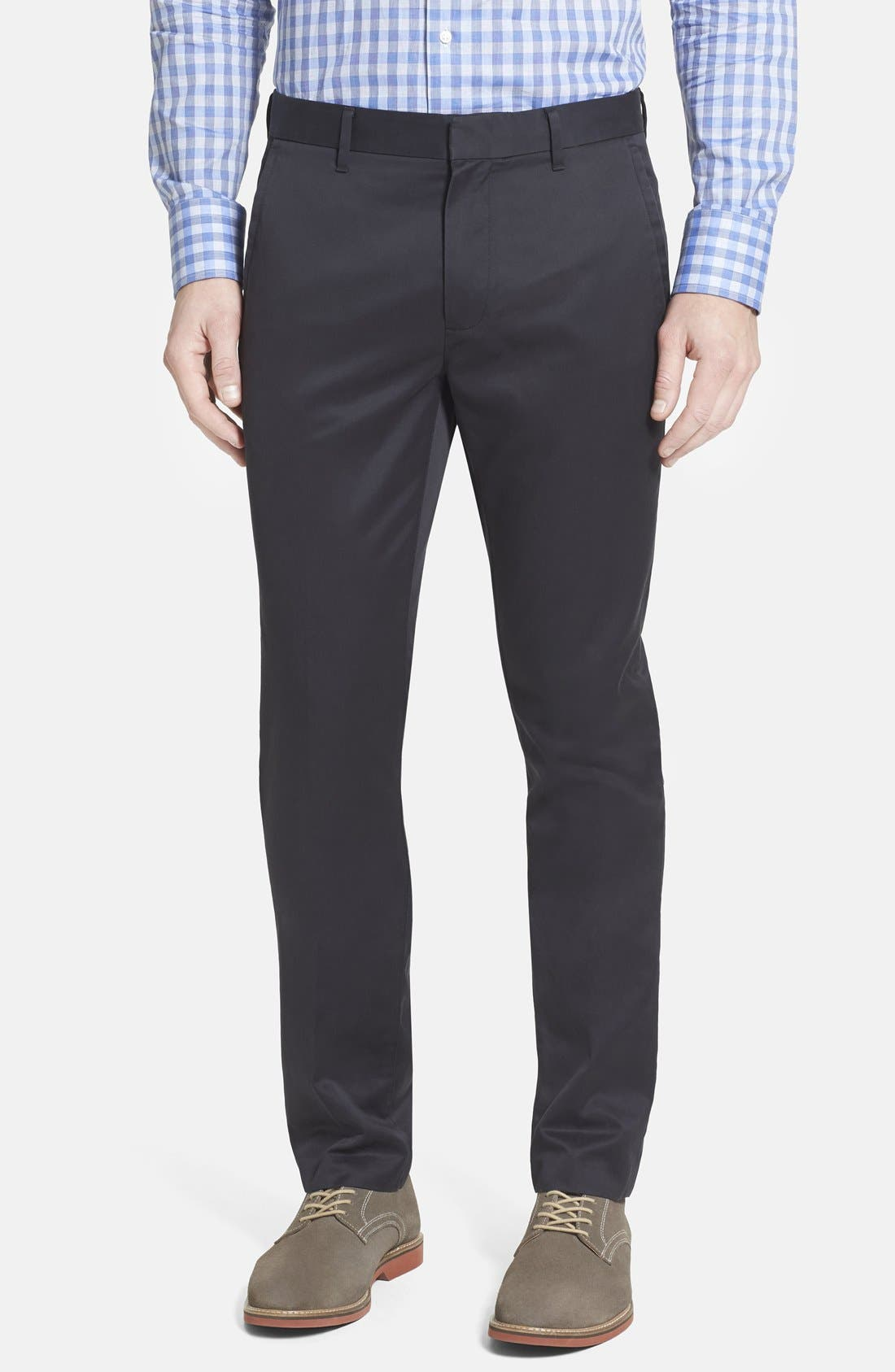 'Weekday Warriors' Non-Iron Tailored Cotton Chinos,                         Main,                         color, TUESDAY BLACKS