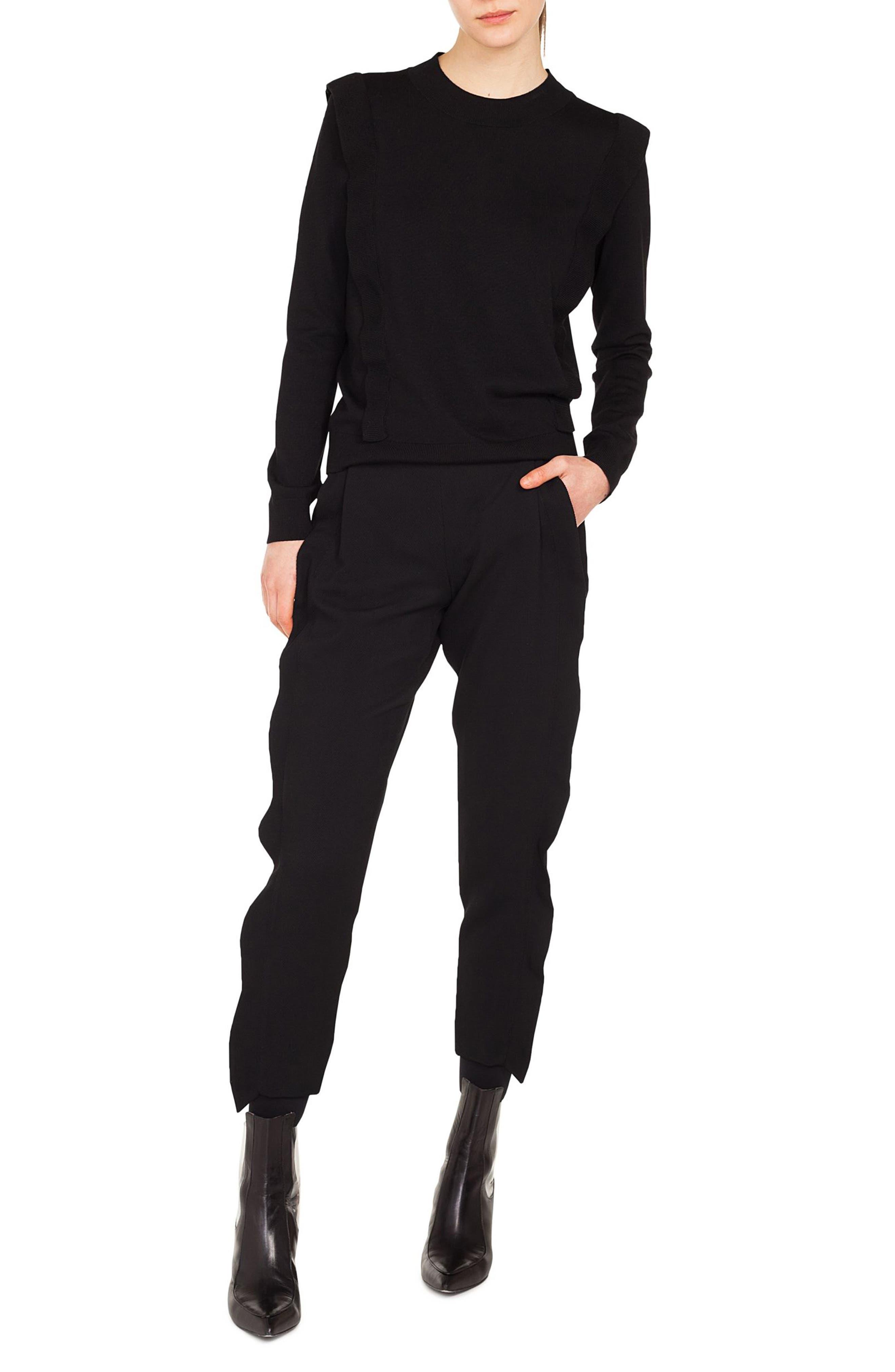 Ruffle Detail Wool Sweater,                             Alternate thumbnail 3, color,                             BLACK