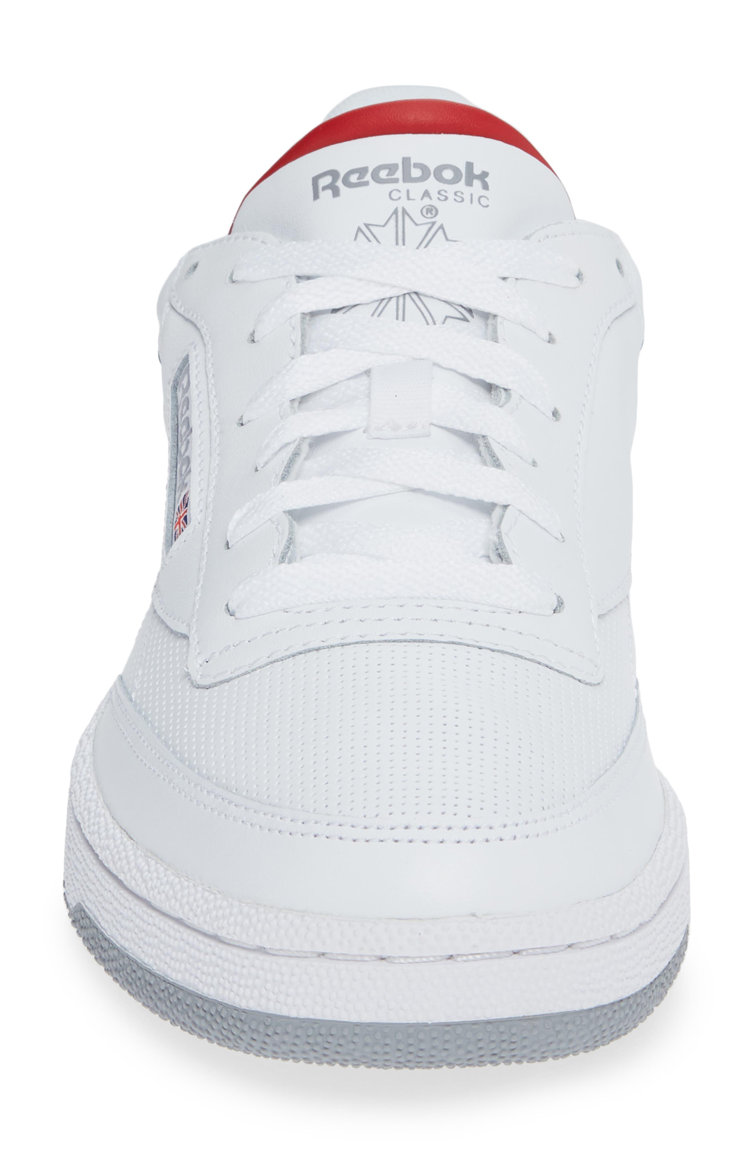 Club C 85 Sneaker,                             Alternate thumbnail 4, color,                             WHITE/ COLLEGIATE NAVY/ RED