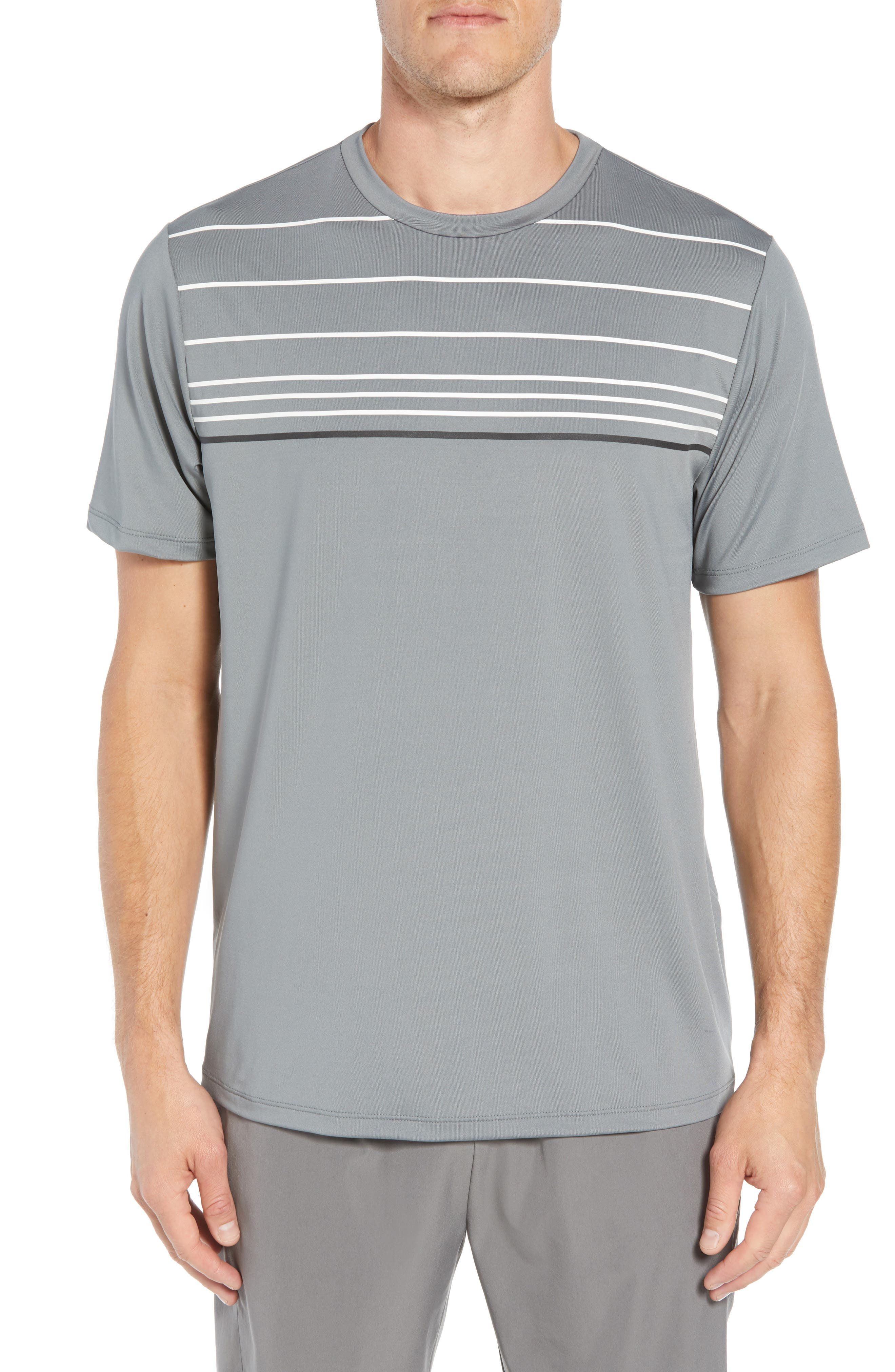 Stripe Performance T-Shirt,                             Main thumbnail 1, color,                             GRAPHITE