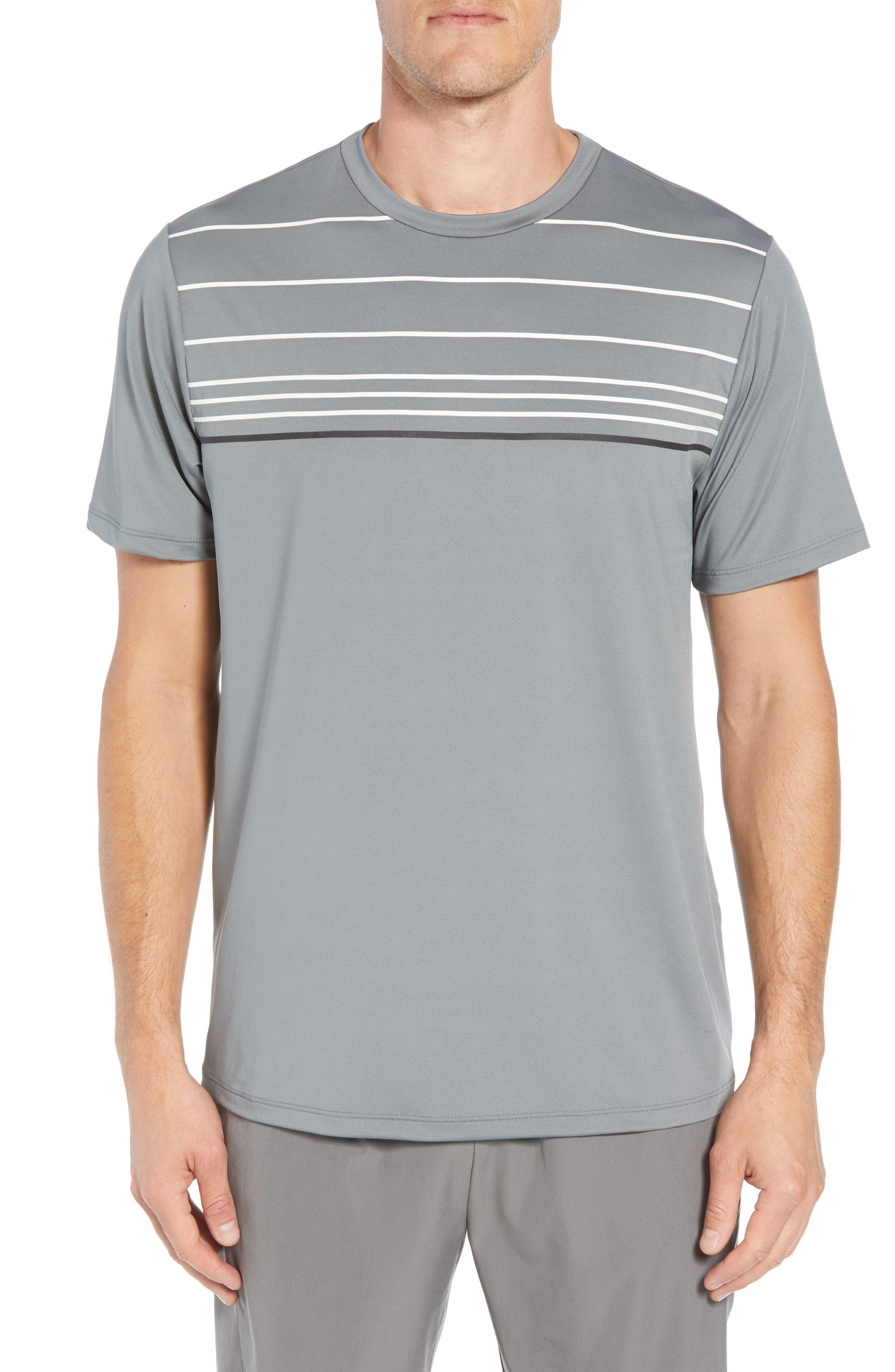 Stripe Performance T-Shirt,                         Main,                         color, GRAPHITE