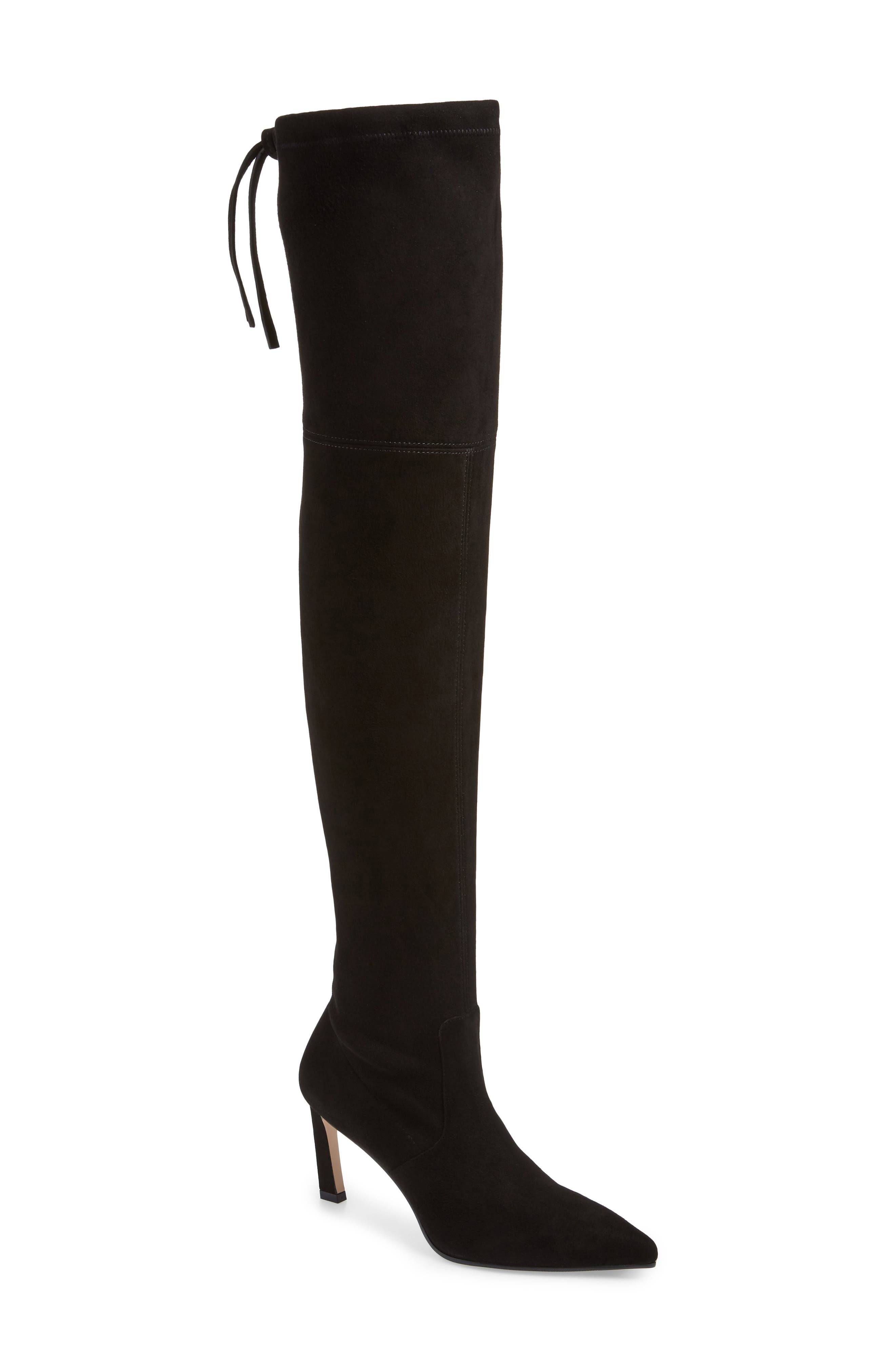 Natalia Thigh High Boot,                         Main,                         color, BLACK SUEDE