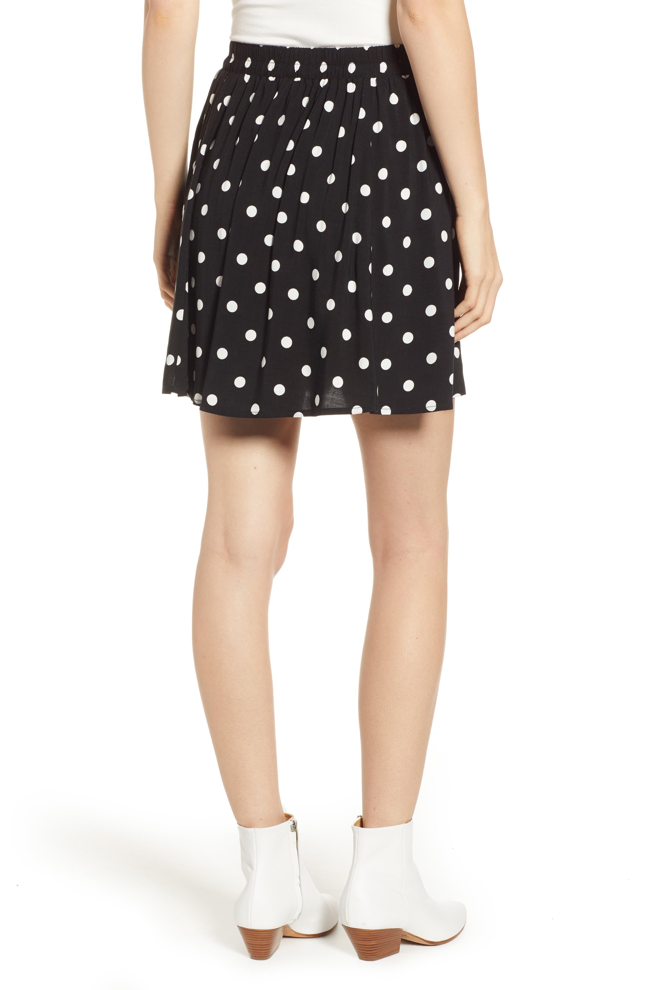 Button Front Skirt,                             Alternate thumbnail 2, color,                             BLACK DOT