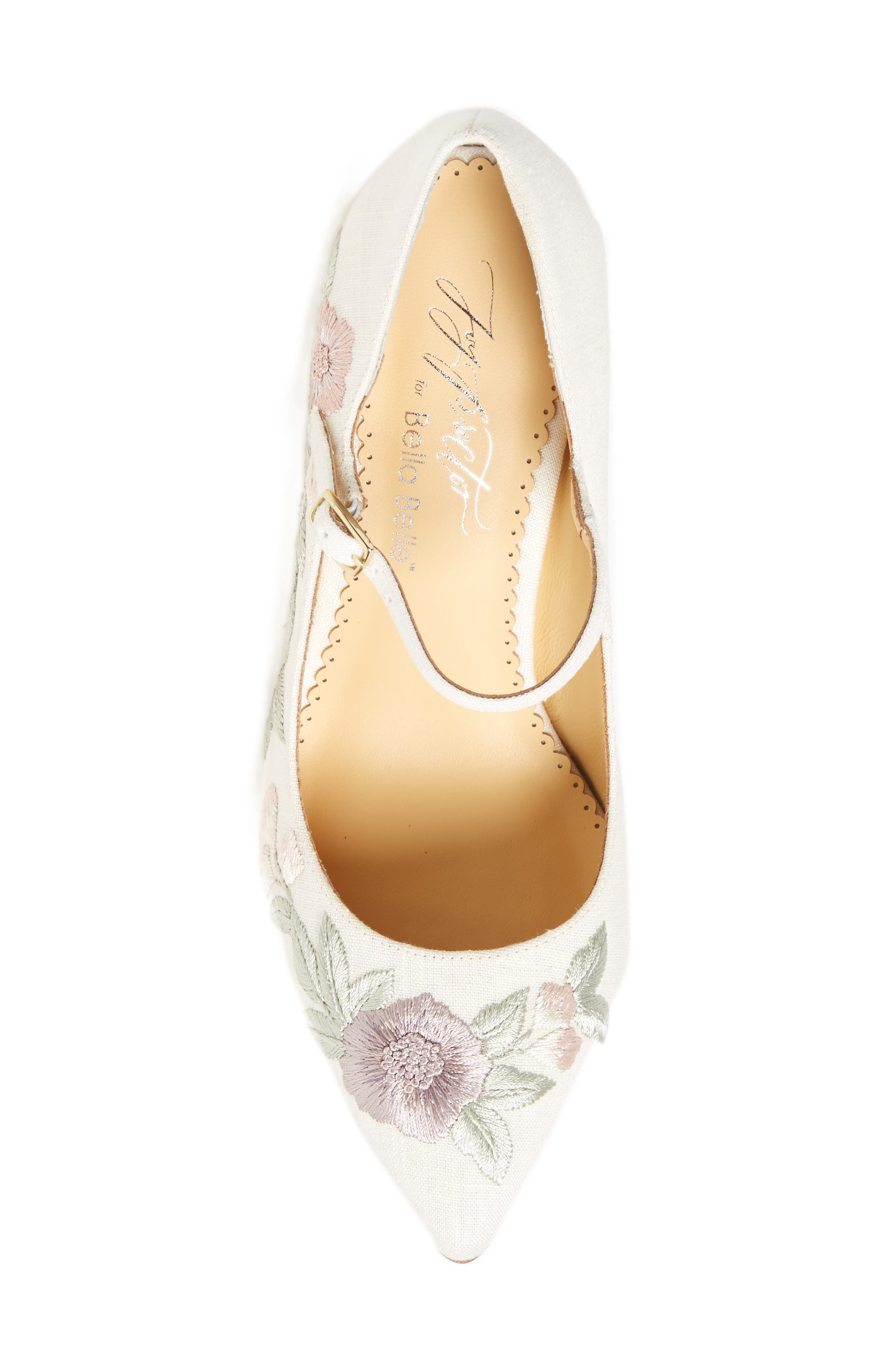 Adelaide Embroidered Pump,                             Alternate thumbnail 5, color,                             LIGHT FLAX FABRIC