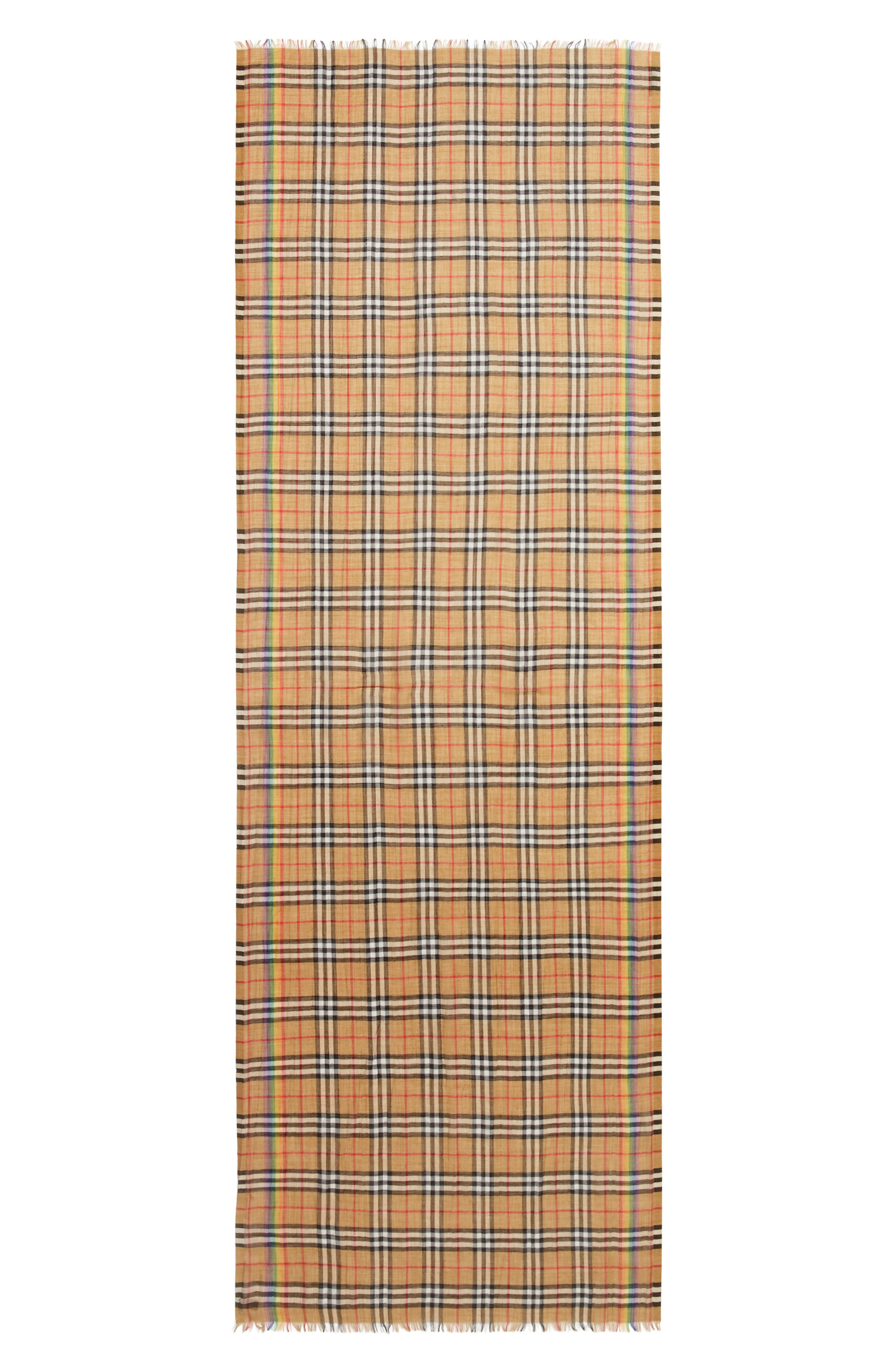 BURBERRY,                             Rainbow Stripe Vintage Check Scarf,                             Main thumbnail 1, color,                             ANTIQUE YELLOW/ RAINBOW