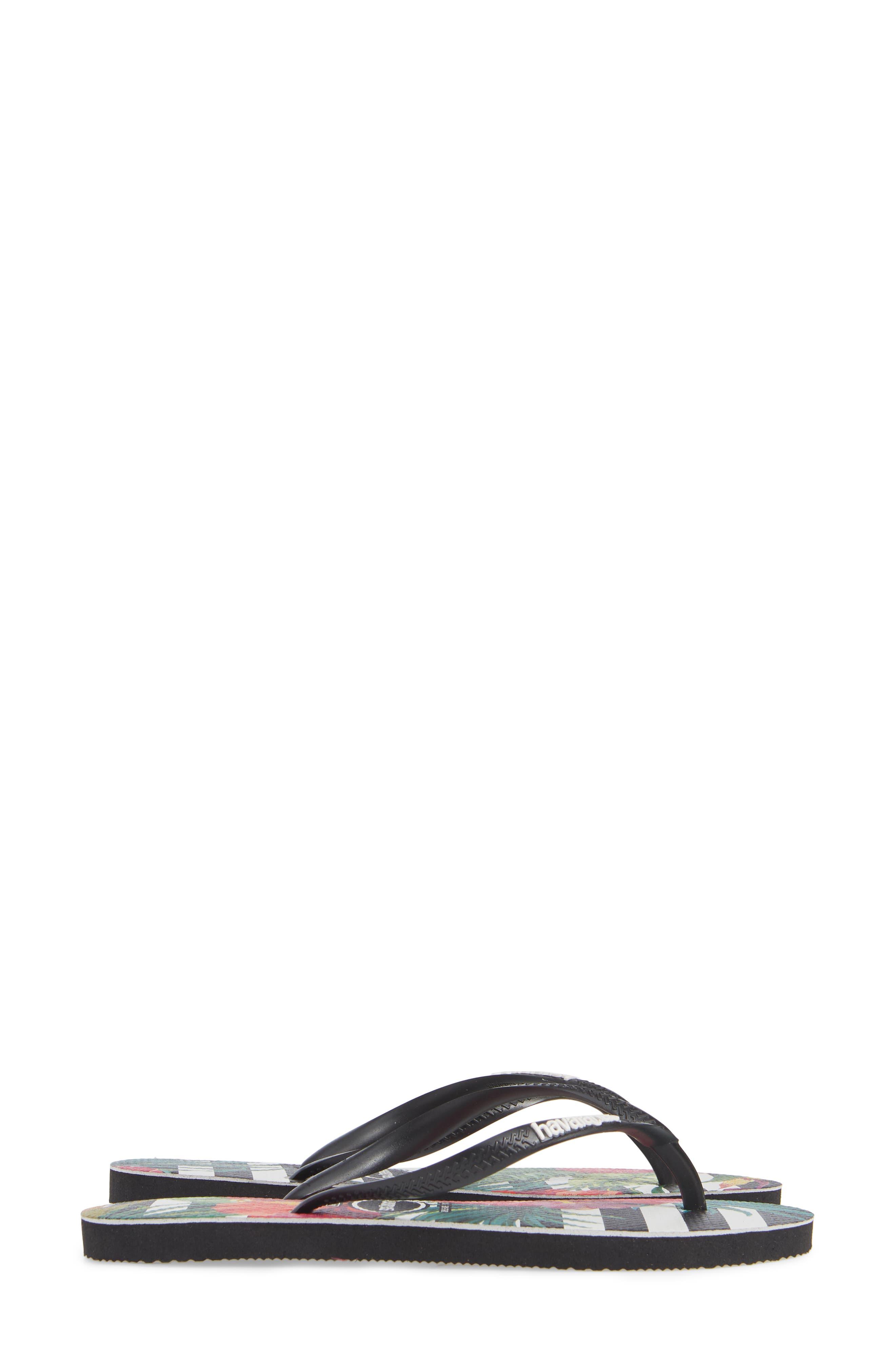Slim Tropical Floral Flip Flop,                             Alternate thumbnail 4, color,                             BLACK/ WHITE