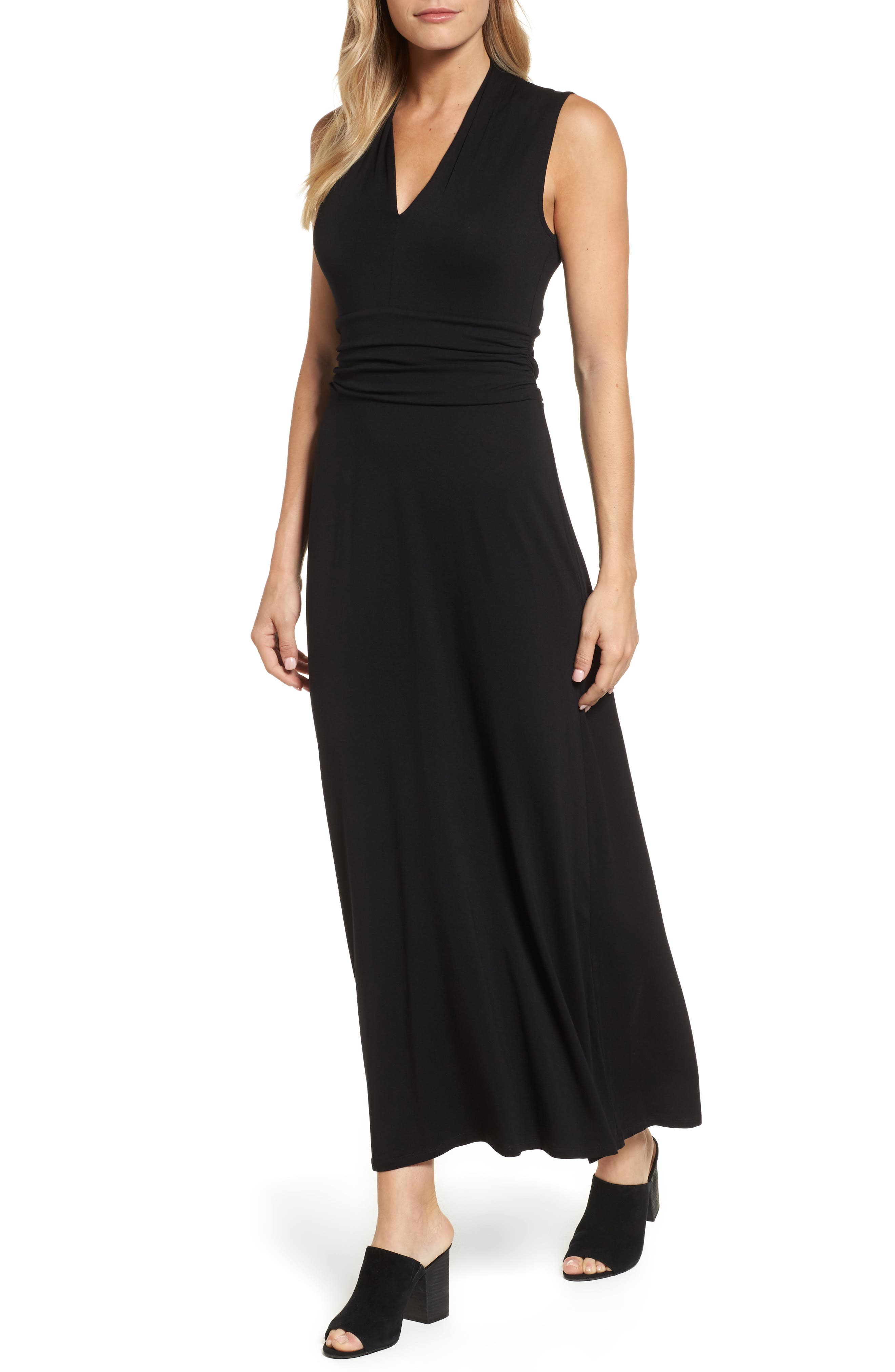 V-Neck Maxi Dress,                             Alternate thumbnail 2, color,                             RICH BLACK