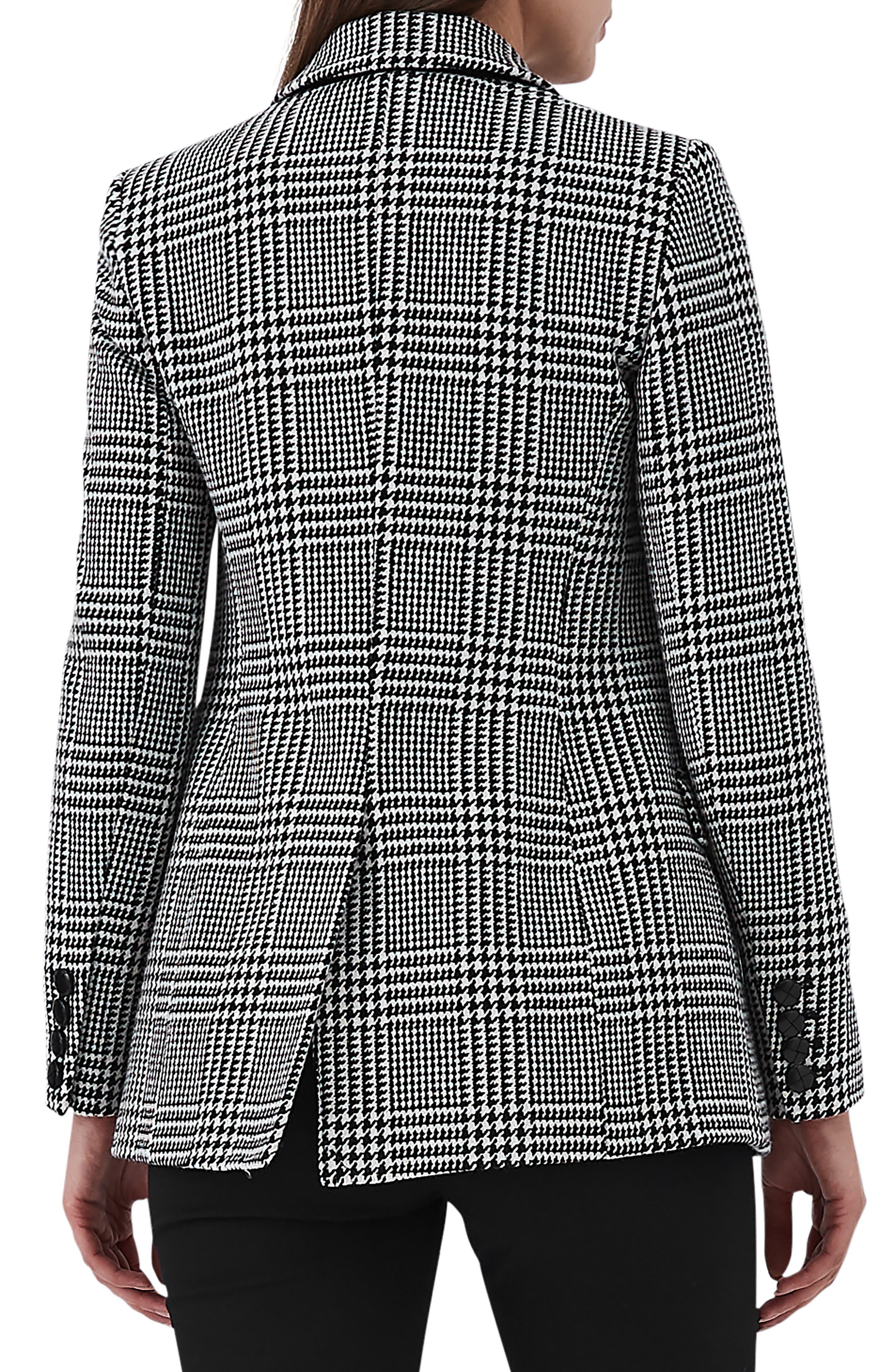 Langley Houndstooth Wool Blend Jacket,                             Alternate thumbnail 2, color,                             001