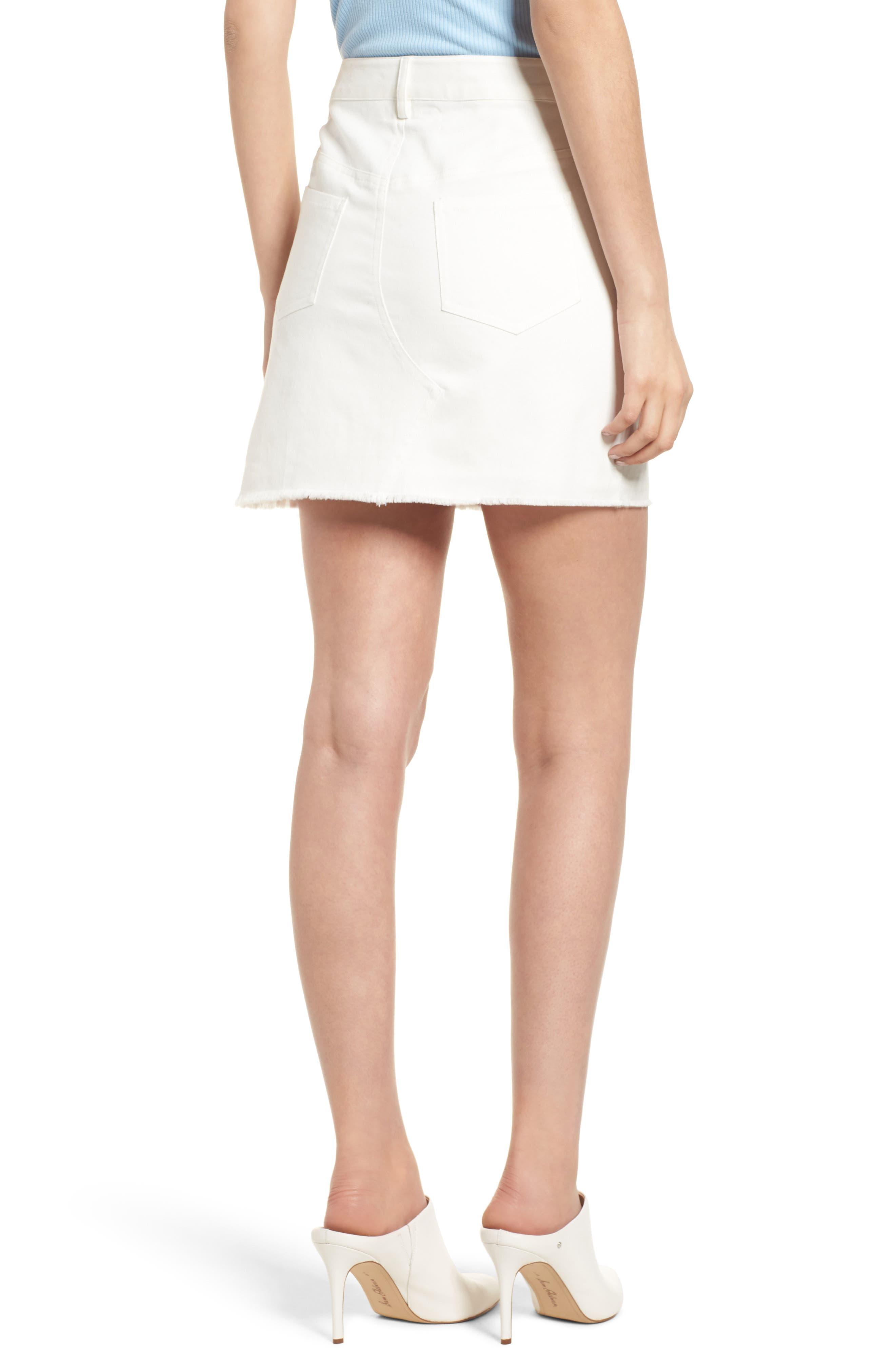 Eva Embroidered Denim Miniskirt,                             Alternate thumbnail 2, color,                             WHITE