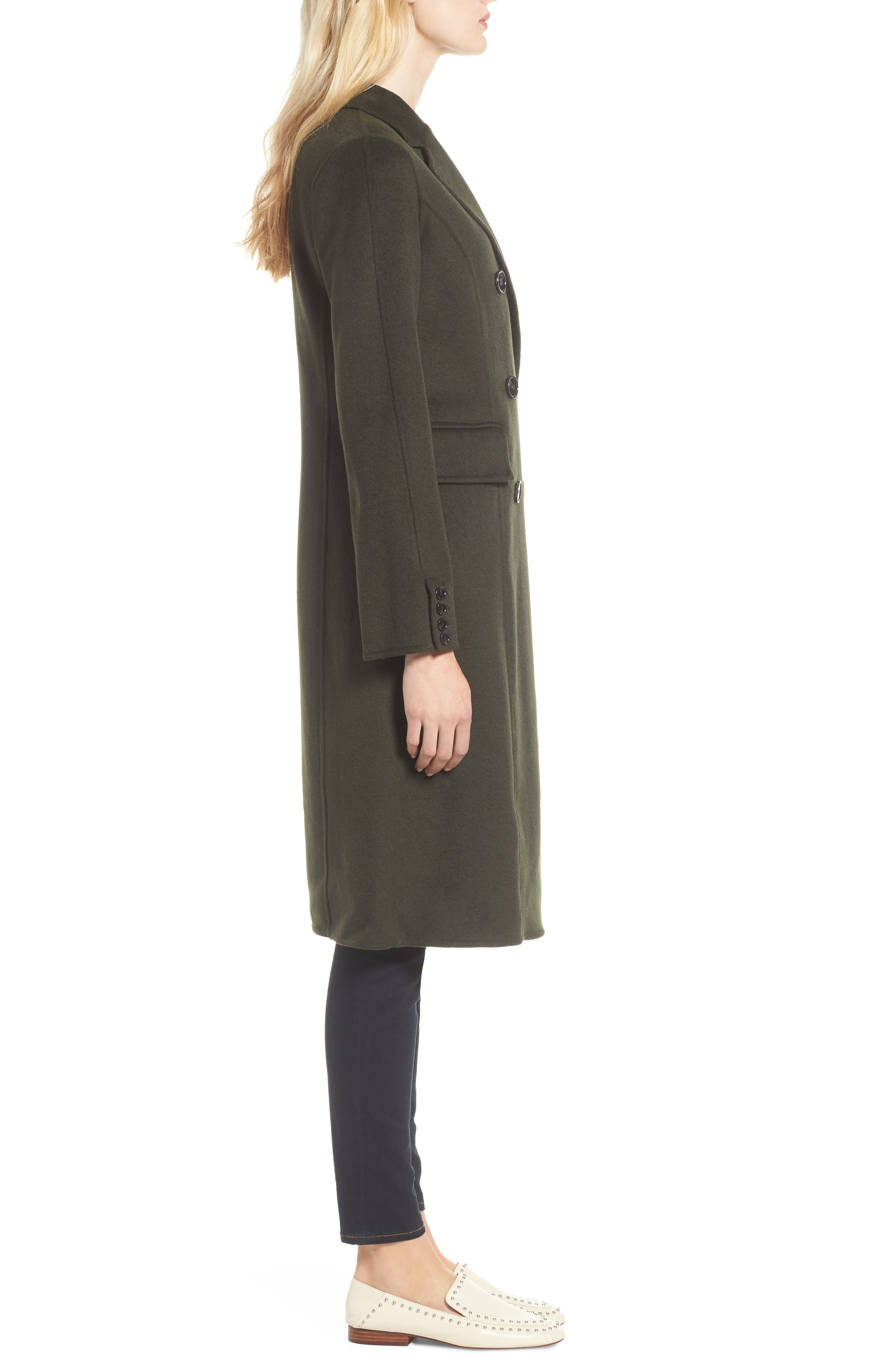 Taylor Double Breasted Wool Coat,                             Alternate thumbnail 3, color,                             300