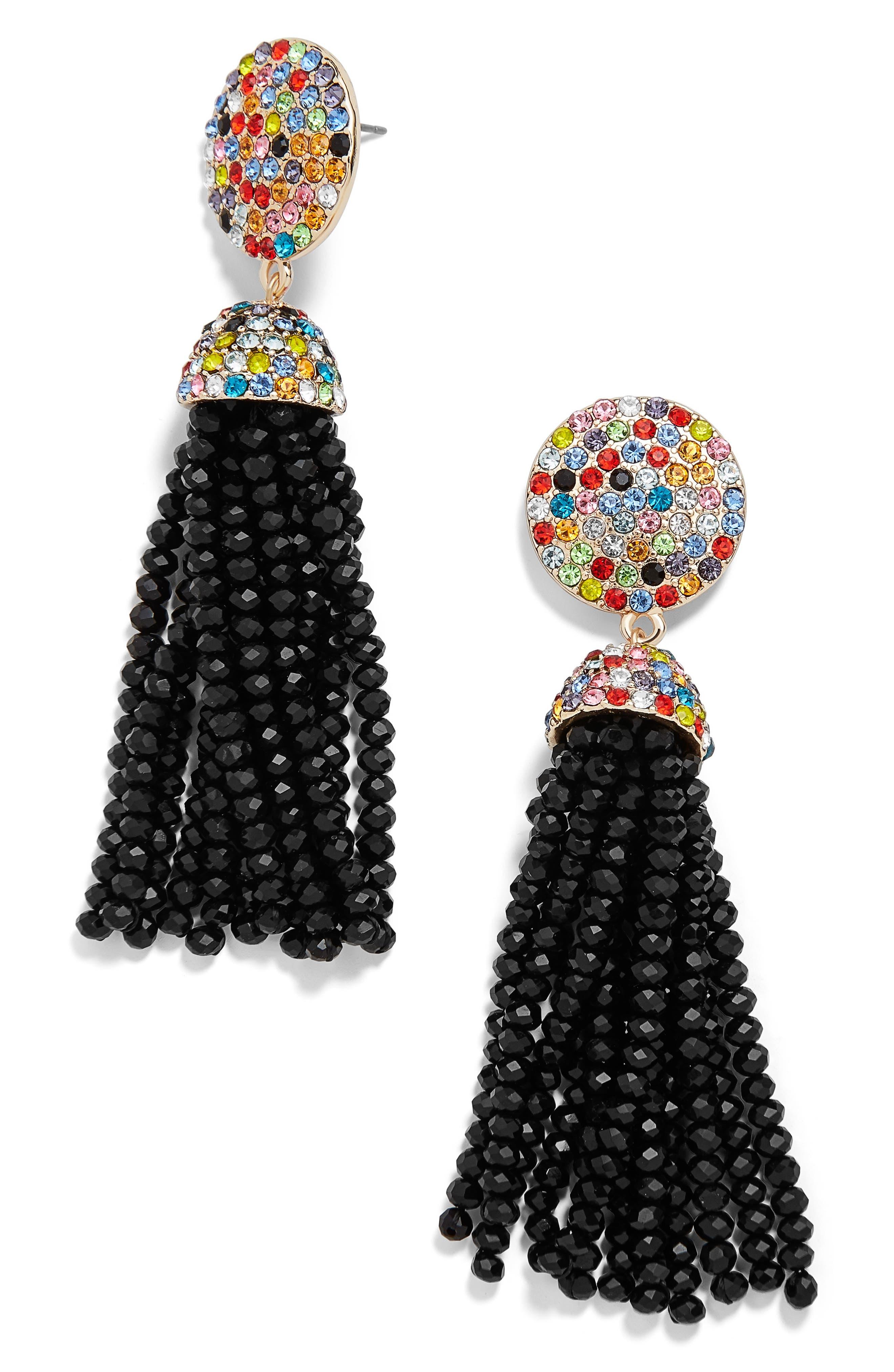 Elle Beaded Tassel Drop Earrings,                             Main thumbnail 1, color,                             001