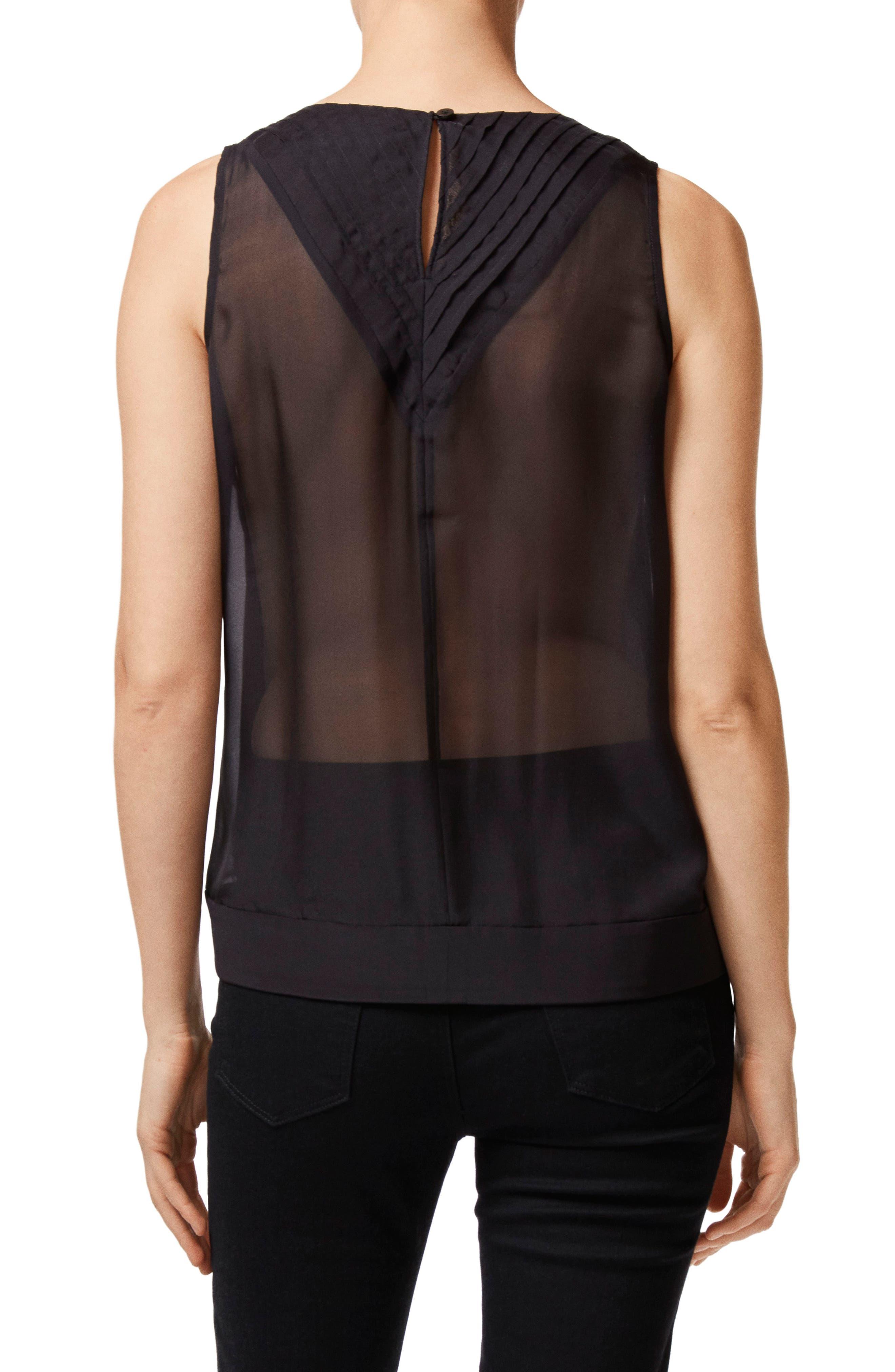 Christina Pleated Back Silk Top,                             Alternate thumbnail 2, color,                             BLACK