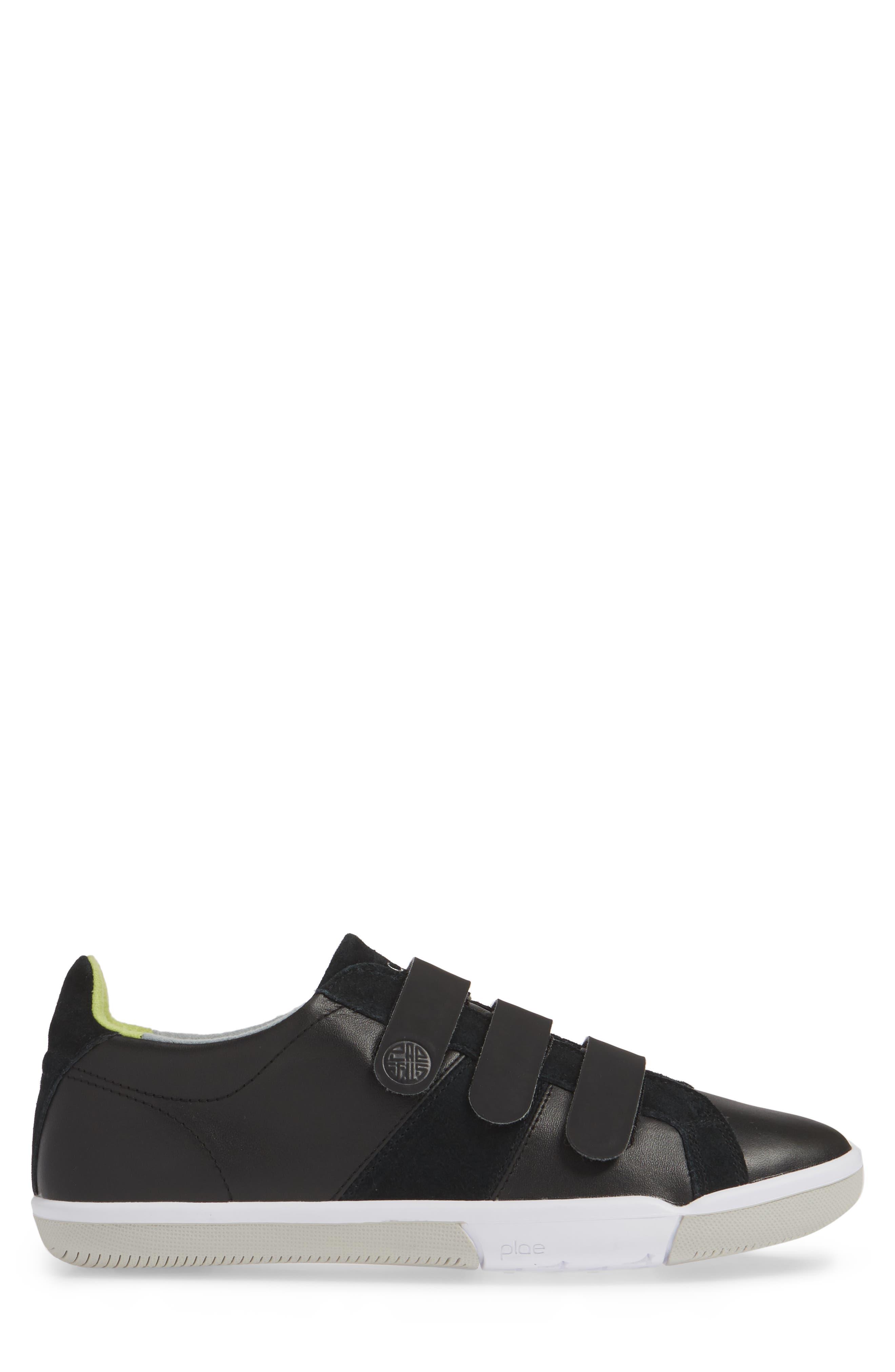 PLAE,                             Larkin Low Top Sneaker,                             Alternate thumbnail 3, color,                             BLACK LEATHER/ SUEDE