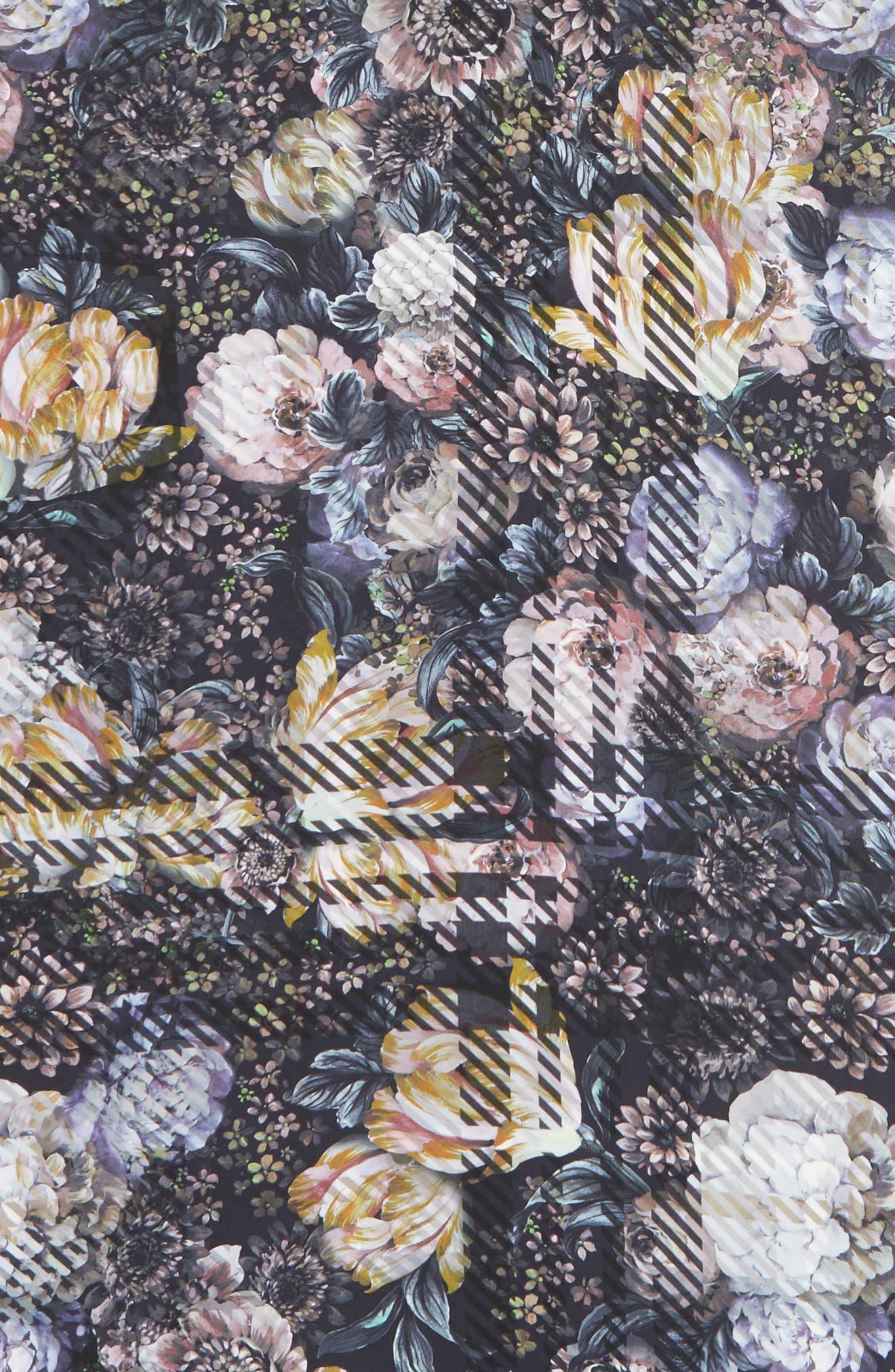 Floral Plaid Silk Wrap,                             Alternate thumbnail 4, color,                             010