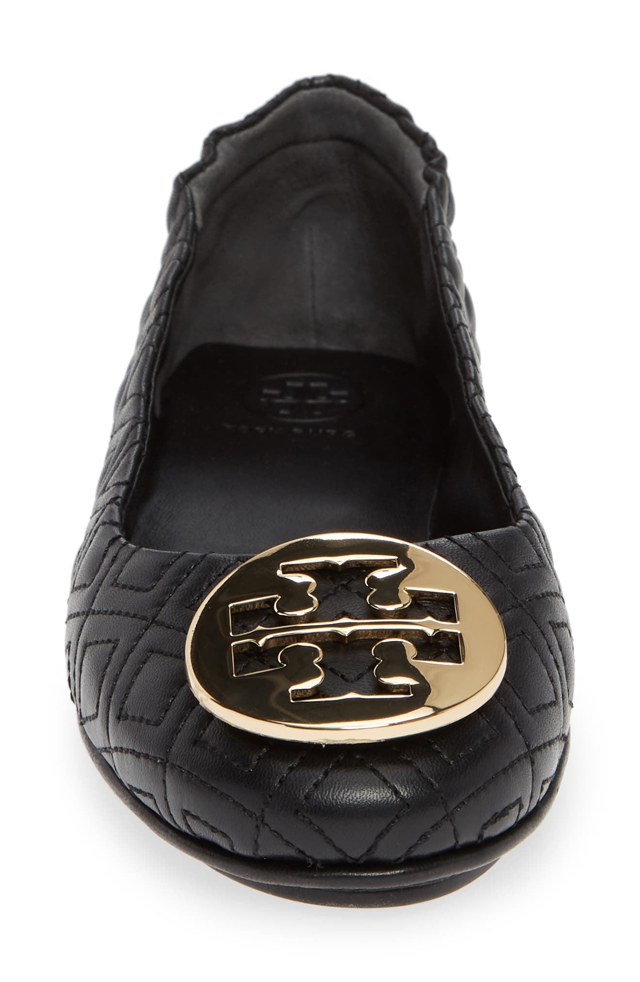 Quilted Minnie Flat,                             Alternate thumbnail 4, color,                             BLACK/ GOLD