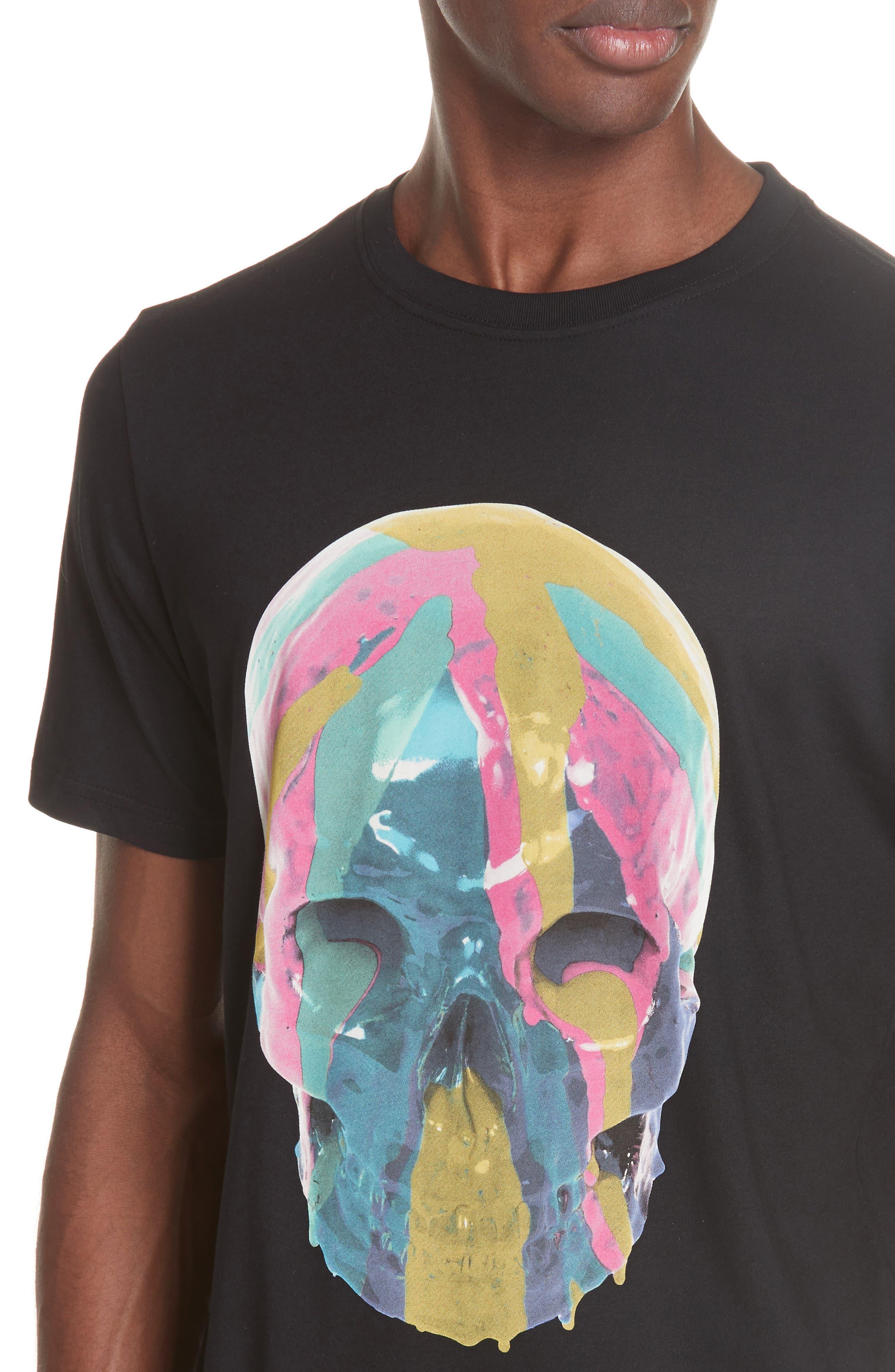 Skull Graphic T-Shirt,                             Alternate thumbnail 4, color,                             BLACK