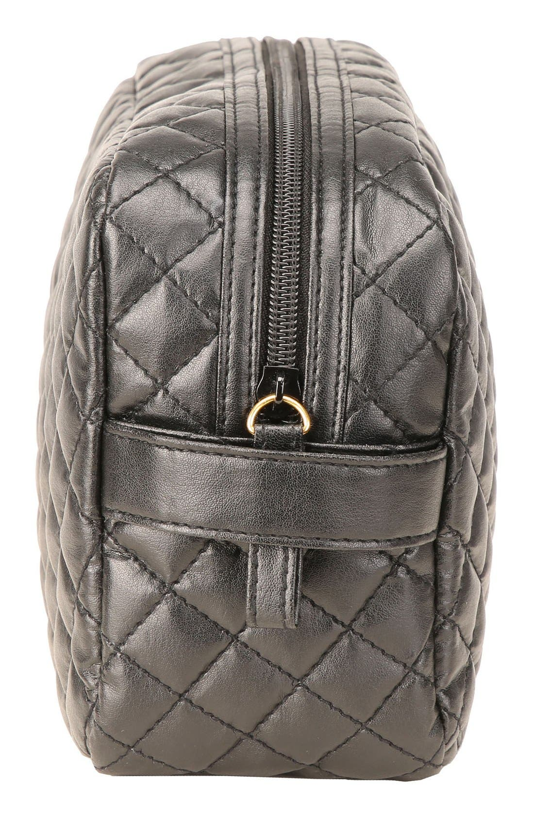 'Viveca' Quilted Black Cosmetics Case,                             Alternate thumbnail 3, color,                             000