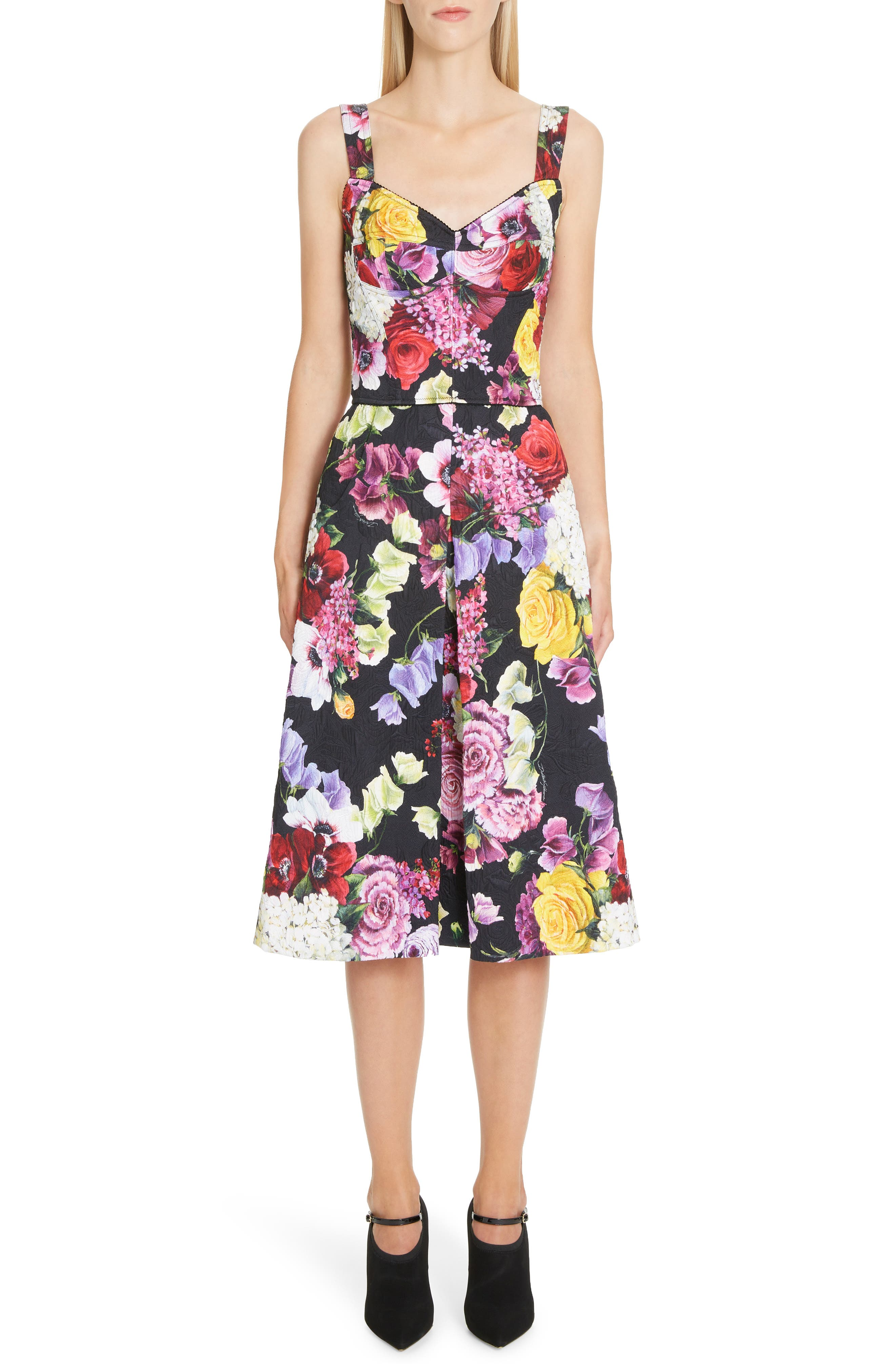 Floral Print Brocade Bustier Dress,                             Main thumbnail 1, color,                             HNW86 BLACK FLORAL