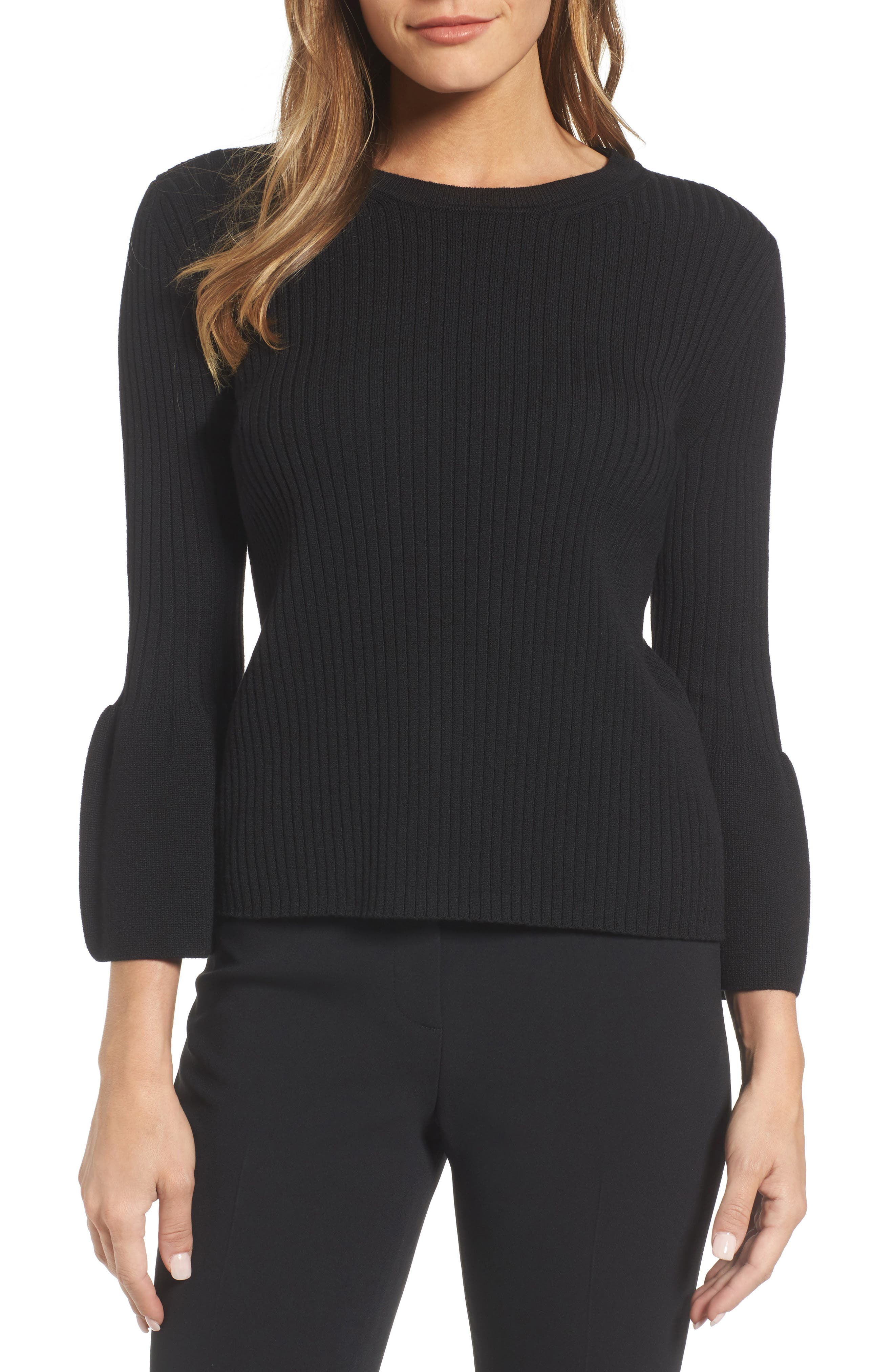 Fantasia Ribbed Bell Sleeve Sweater,                             Main thumbnail 1, color,                             001