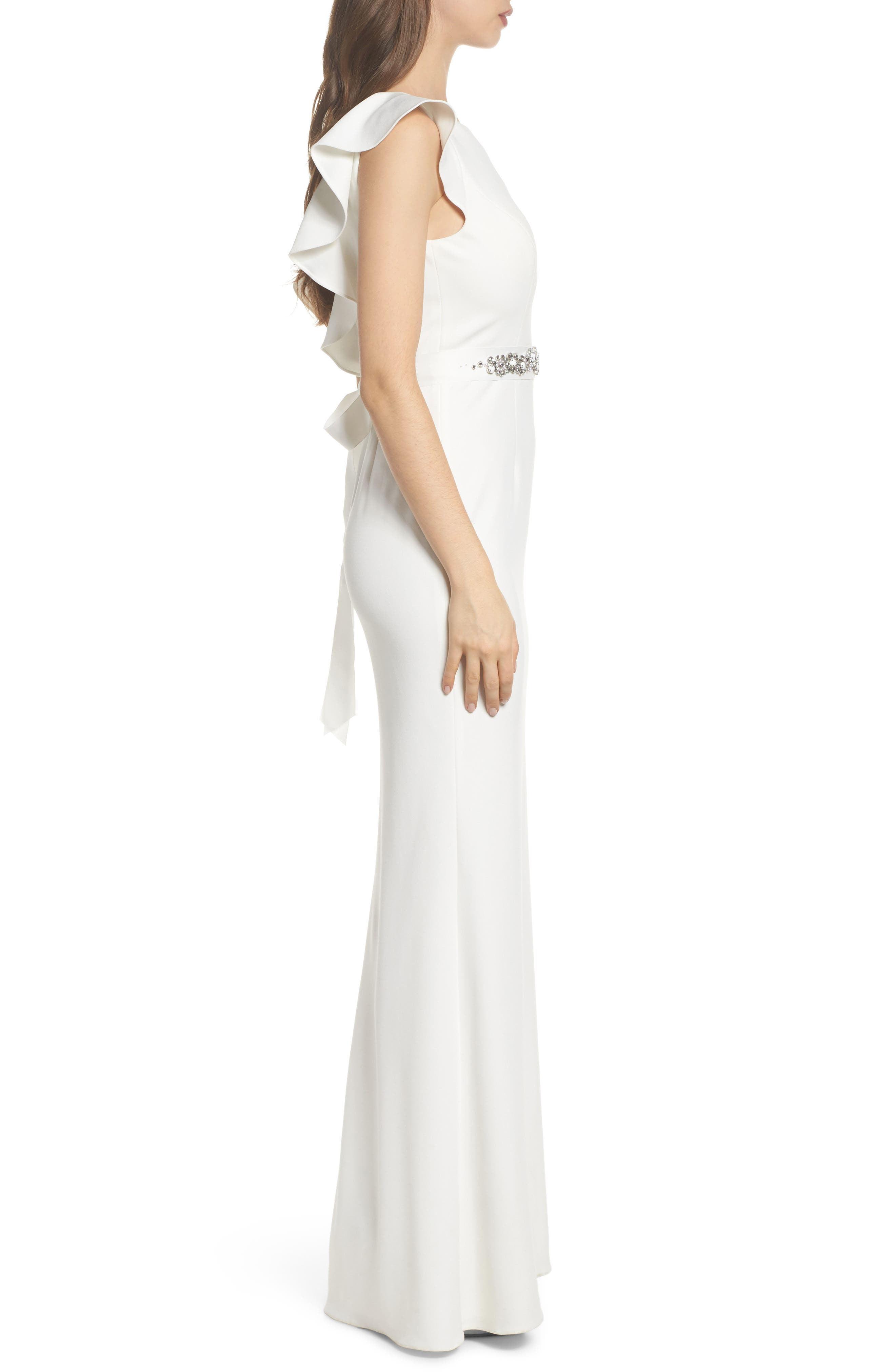 Ruffle Back Belted Gown,                             Alternate thumbnail 3, color,                             900
