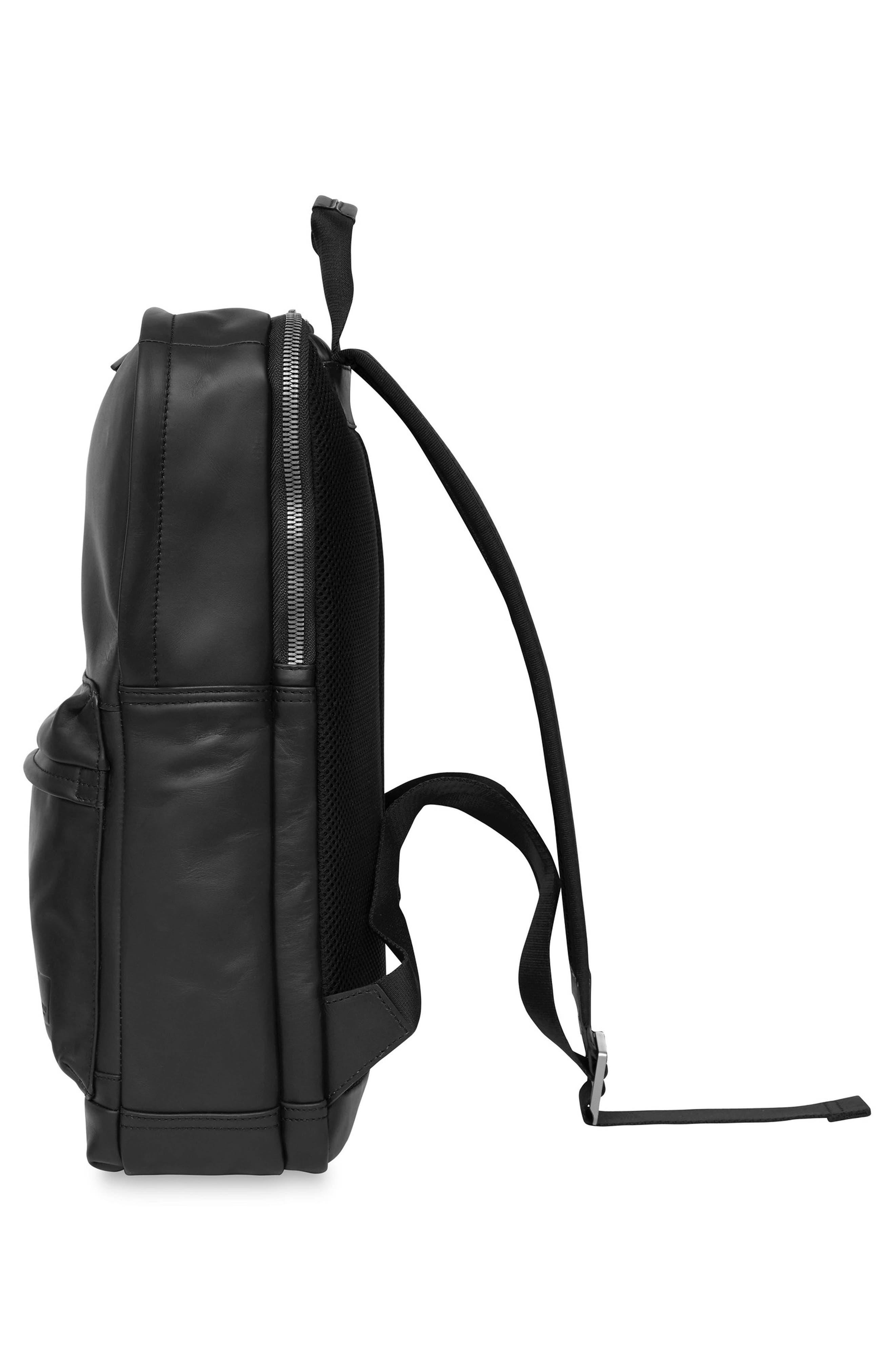 Knomo Barbican Brackley Leather Backpack,                             Alternate thumbnail 3, color,                             BLACK