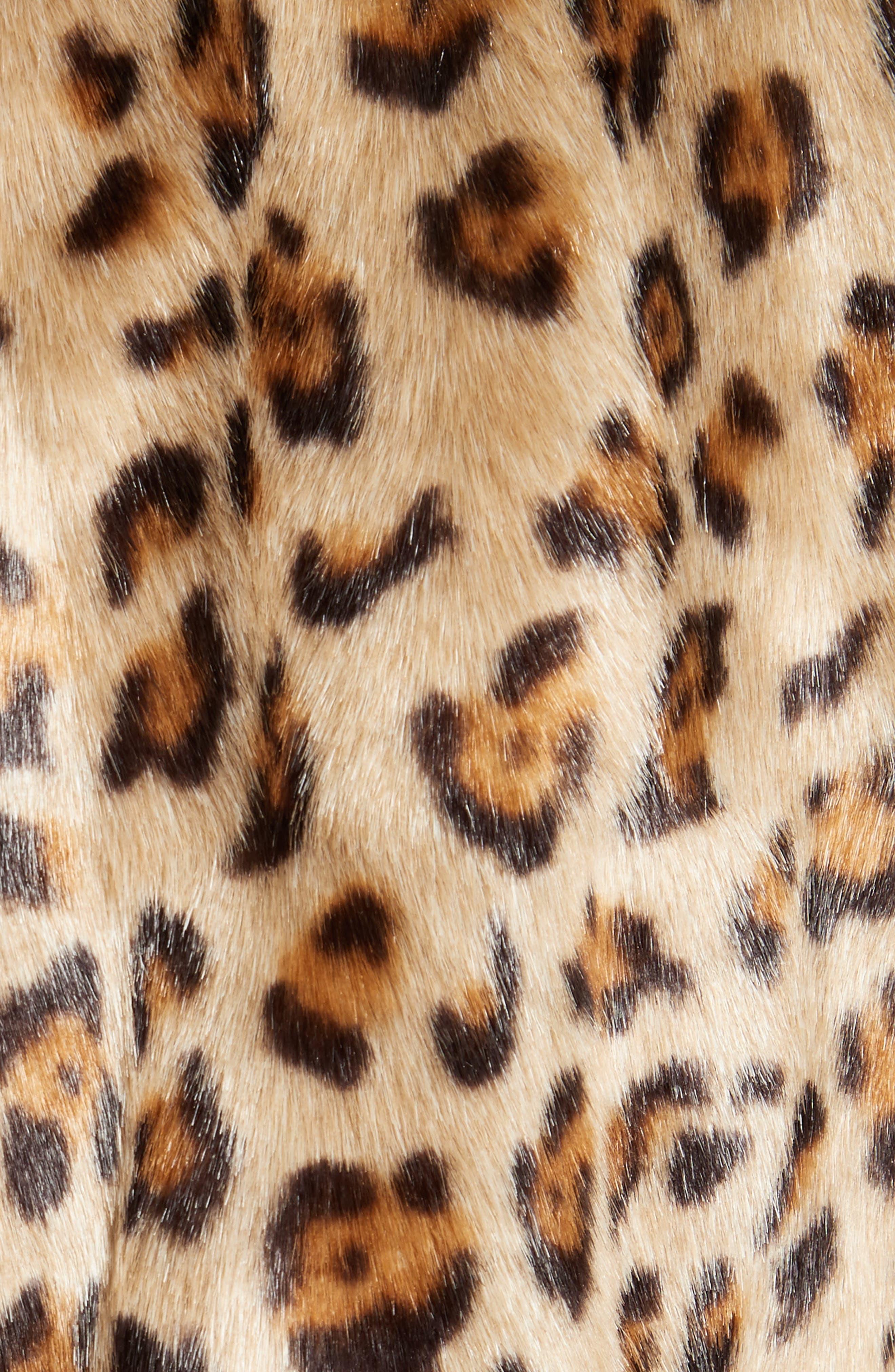 Clairene Leopard Print Faux Fur Coat,                             Alternate thumbnail 5, color,