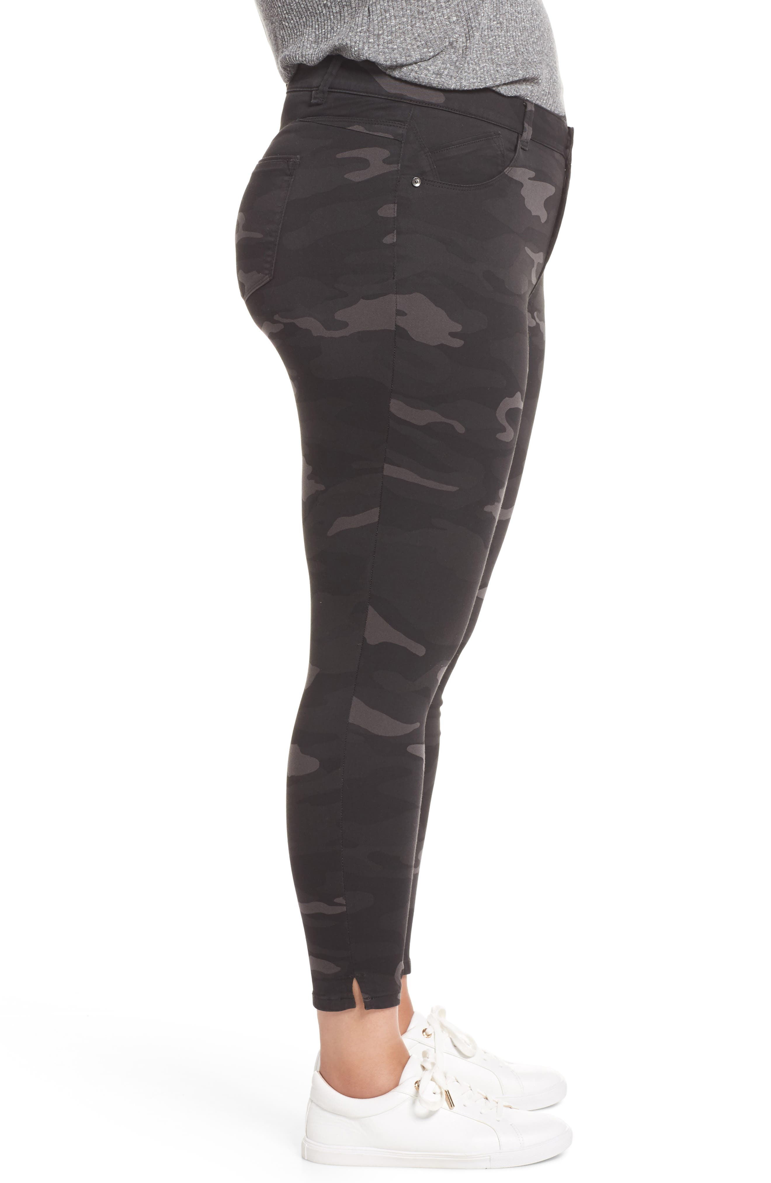 Ab-Solution Ankle Skimmer Jeans,                             Alternate thumbnail 3, color,                             BLACK/ CAMO