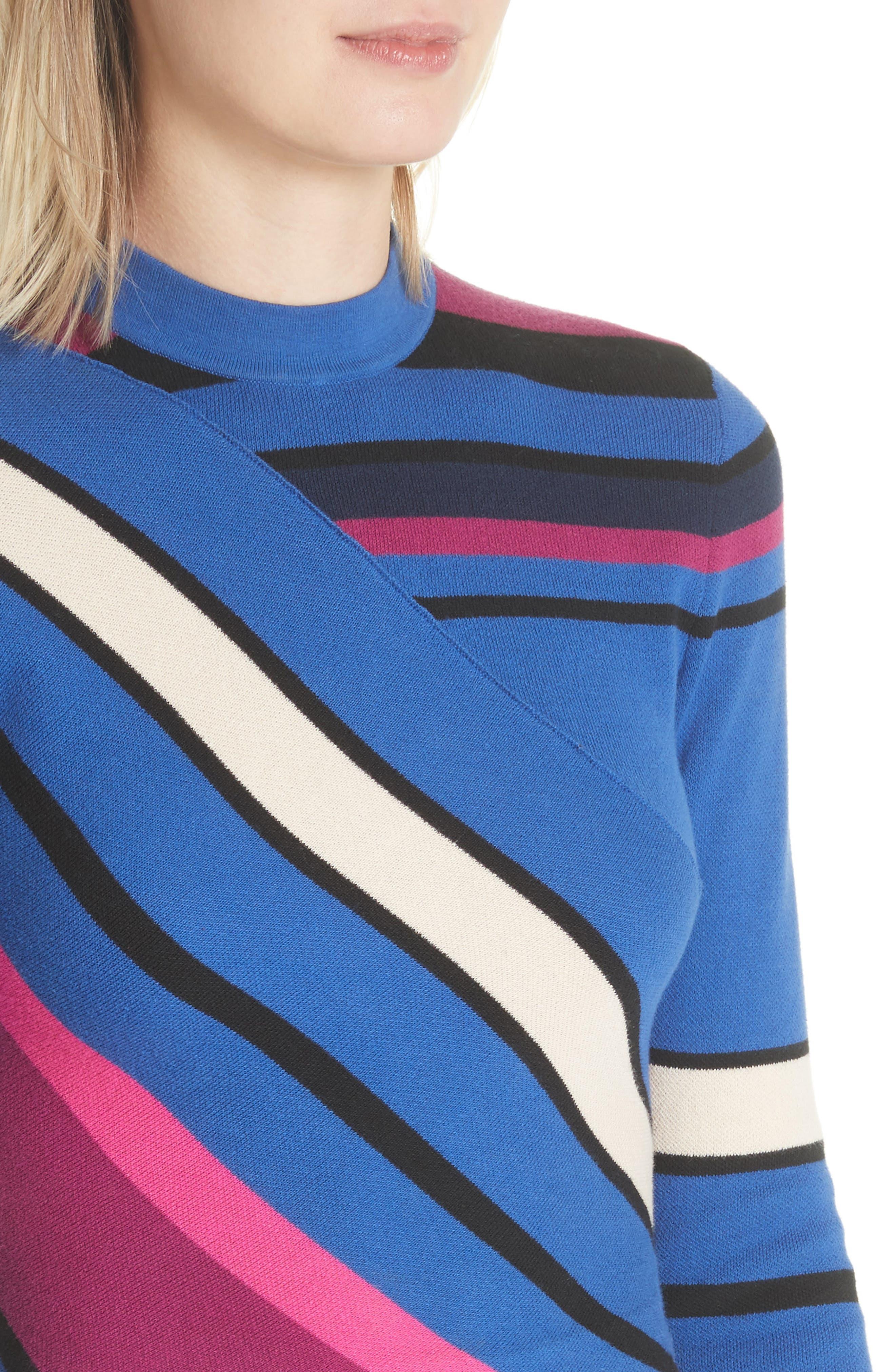 Stripe Crop Cotton Top,                             Alternate thumbnail 4, color,                             498