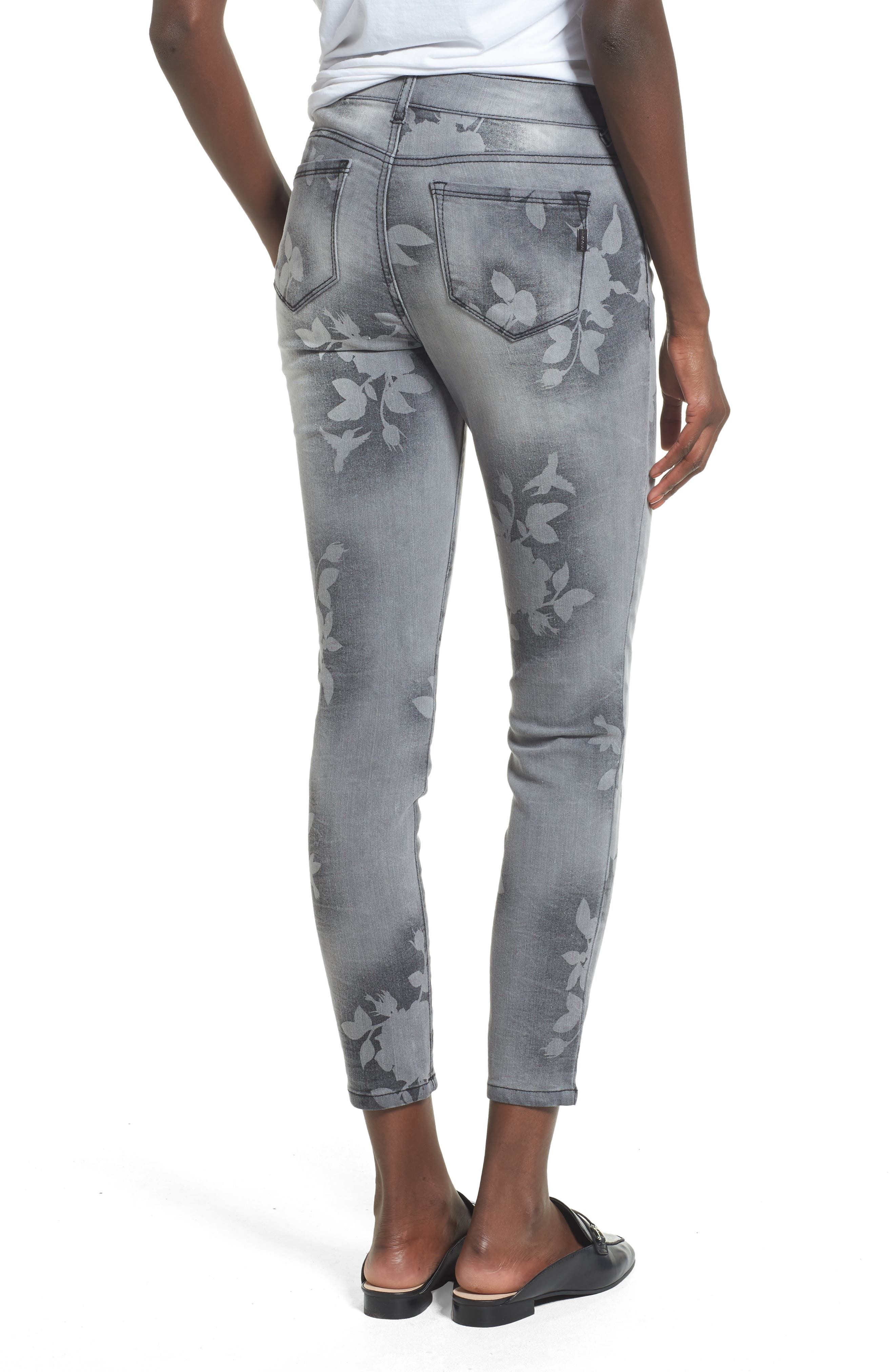 Floral Wash Crop Skinny Jeans,                             Alternate thumbnail 2, color,                             022