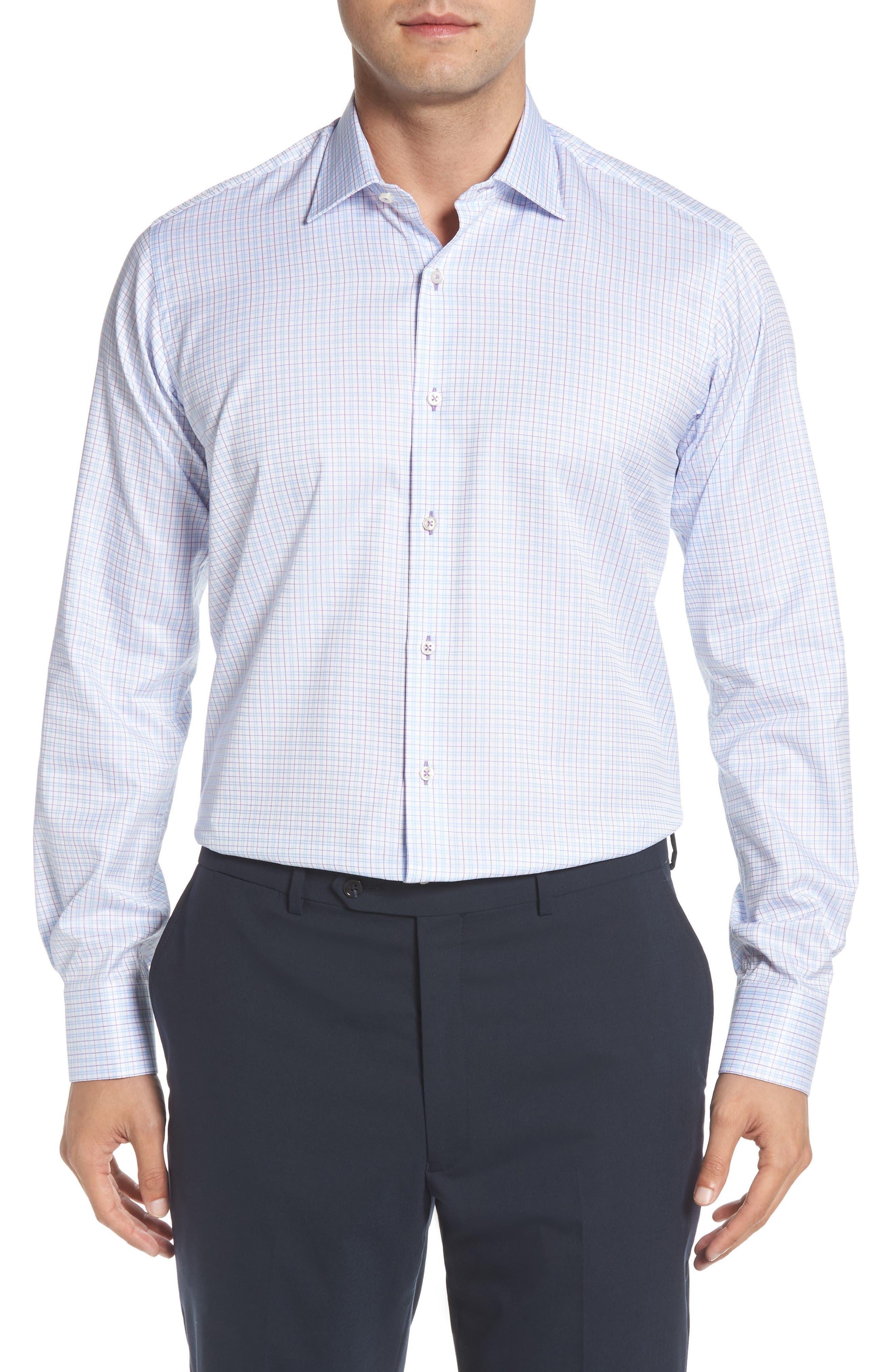 Regular Fit Check Dress Shirt,                         Main,                         color, WHITE MULTI